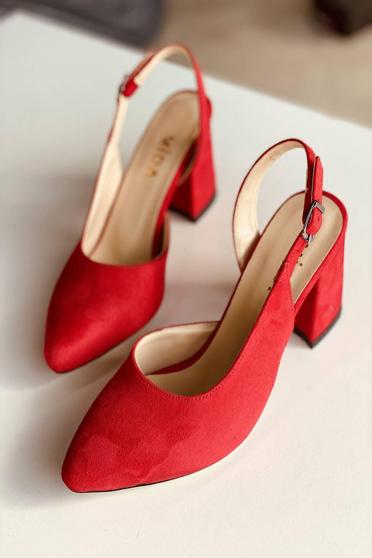 Y127 Kırmızı Süet Topuklu Ayakkabı