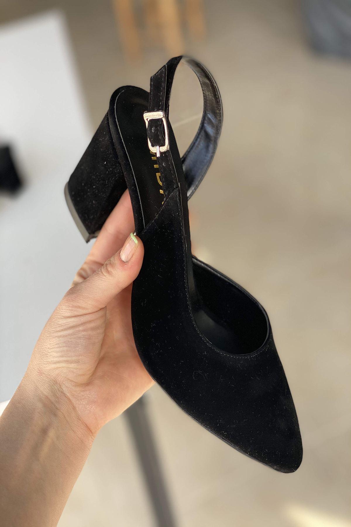 Y127 Siyah Süet Topuklu Ayakkabı