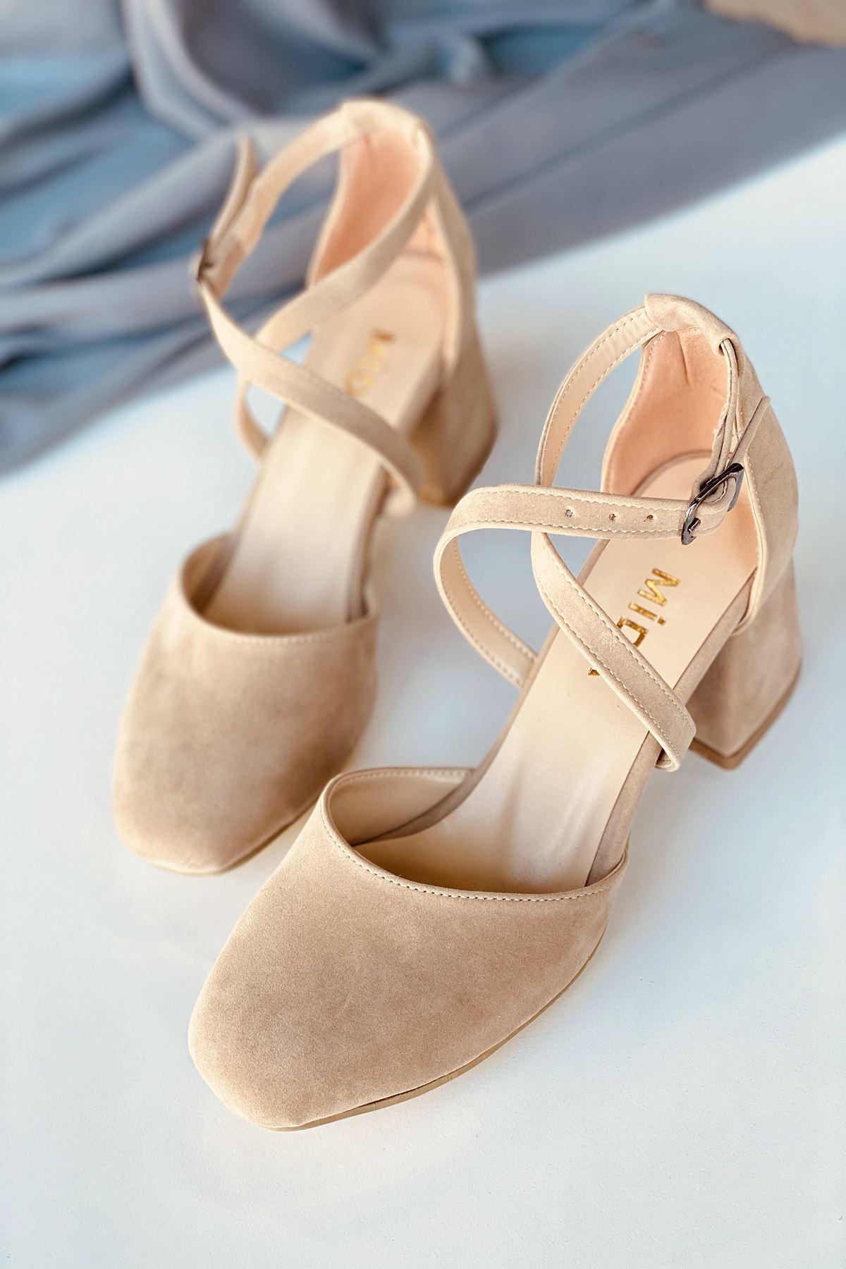 Y191 Ten Süet Topuklu Ayakkabı