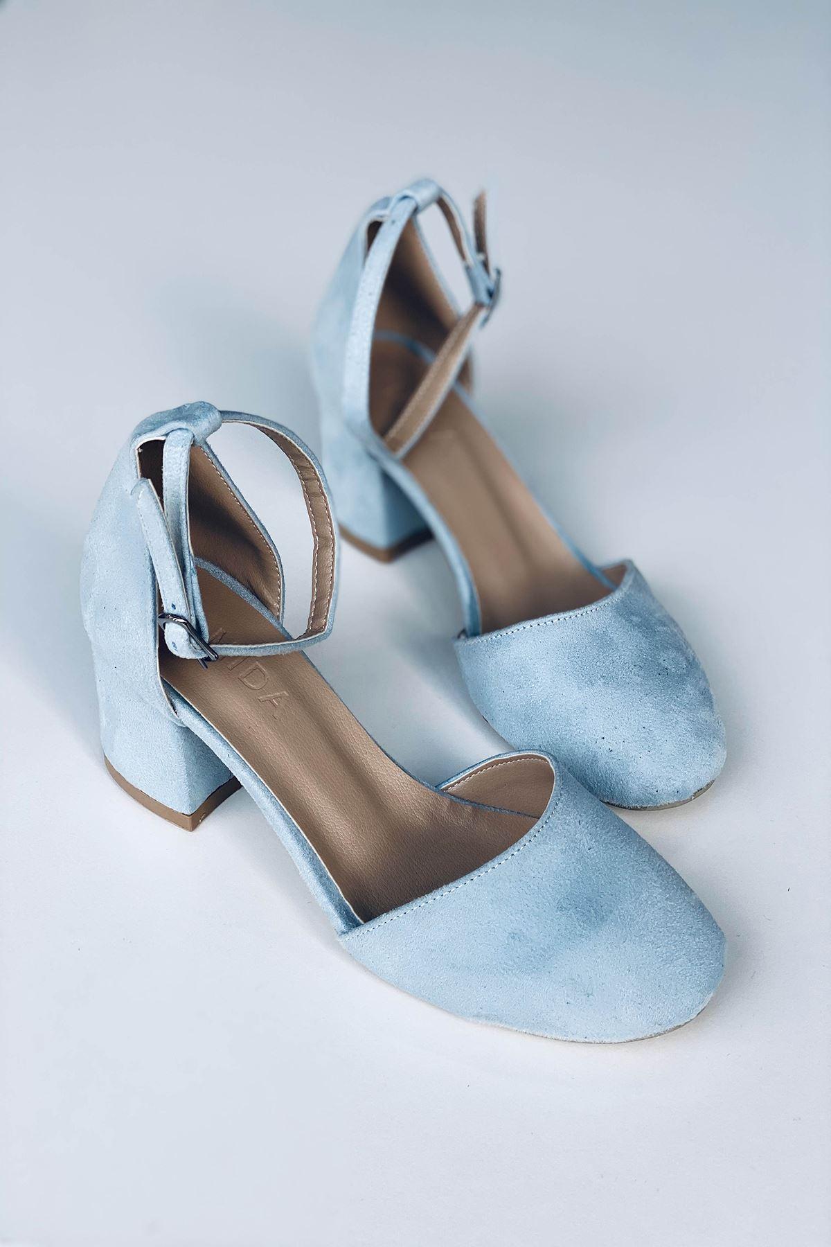 Y202 Bebe Mavi Süet Topuklu Ayakkabı