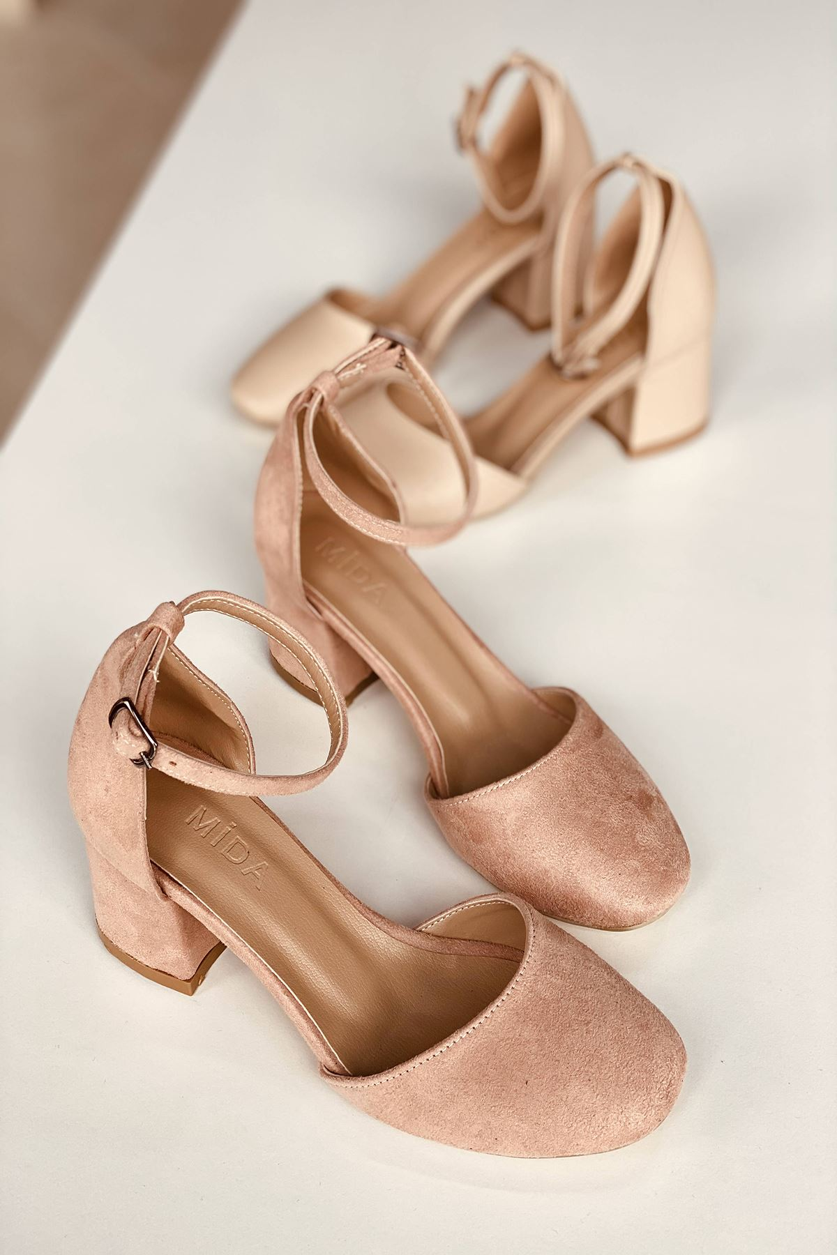 Y202 Pudra Süet Topuklu Ayakkabı
