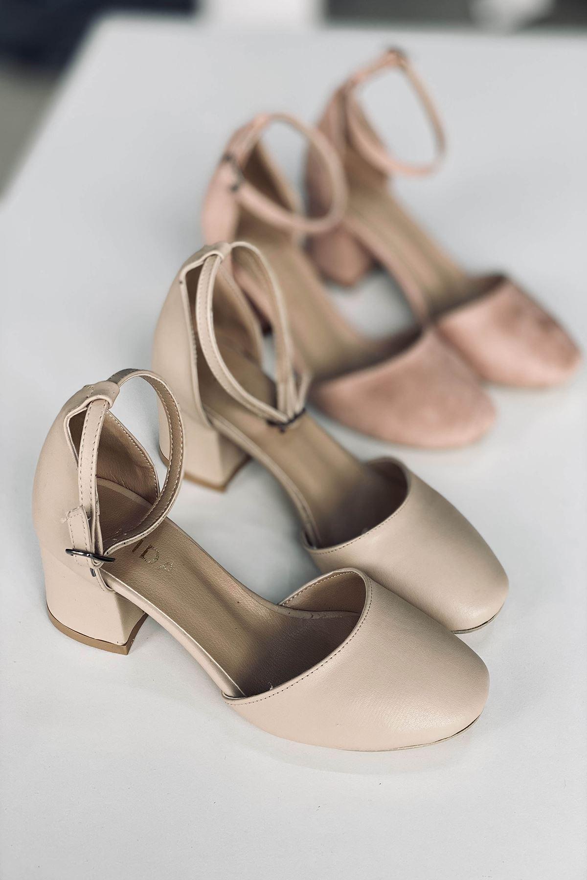Y202 Ten Deri Topuklu Ayakkabı
