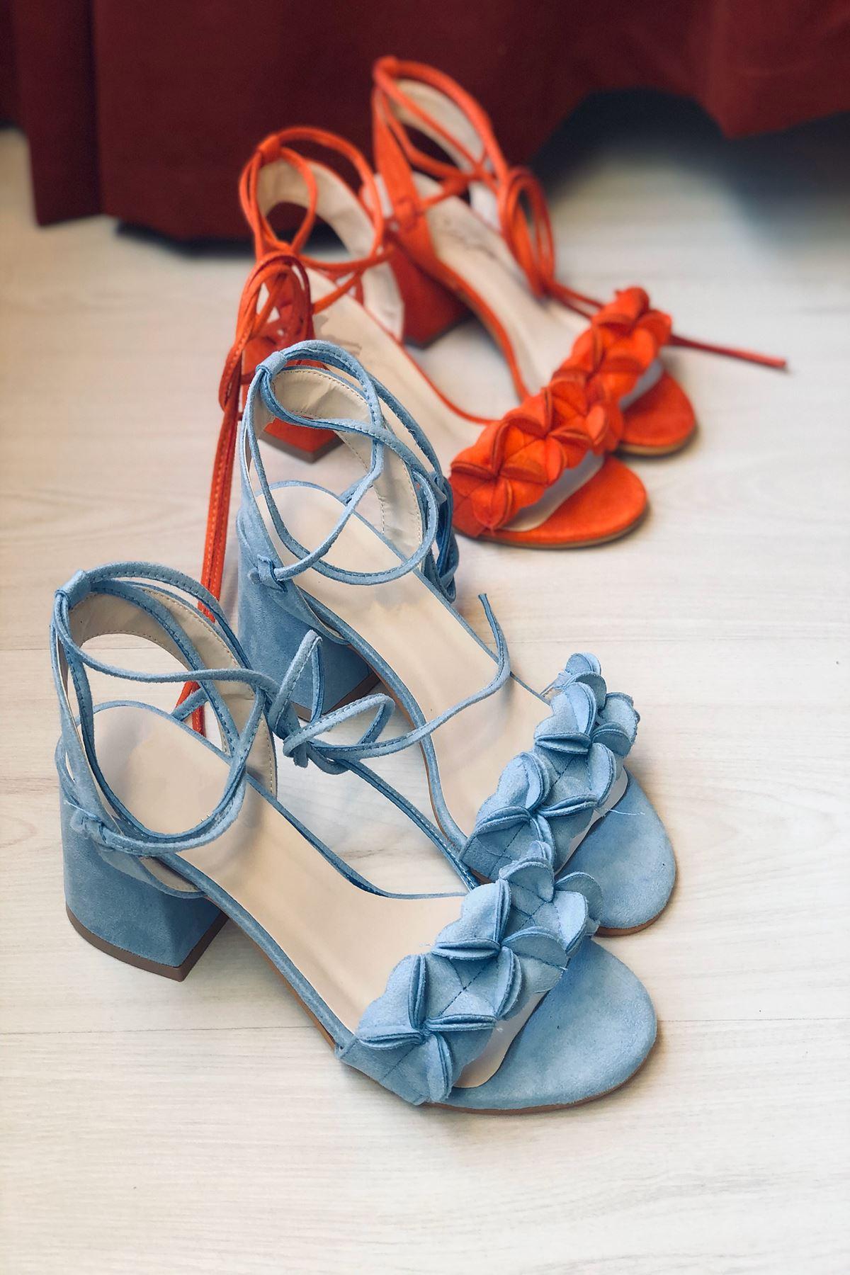 Y501 Bebe Mavi Süet Topuklu Ayakkabı
