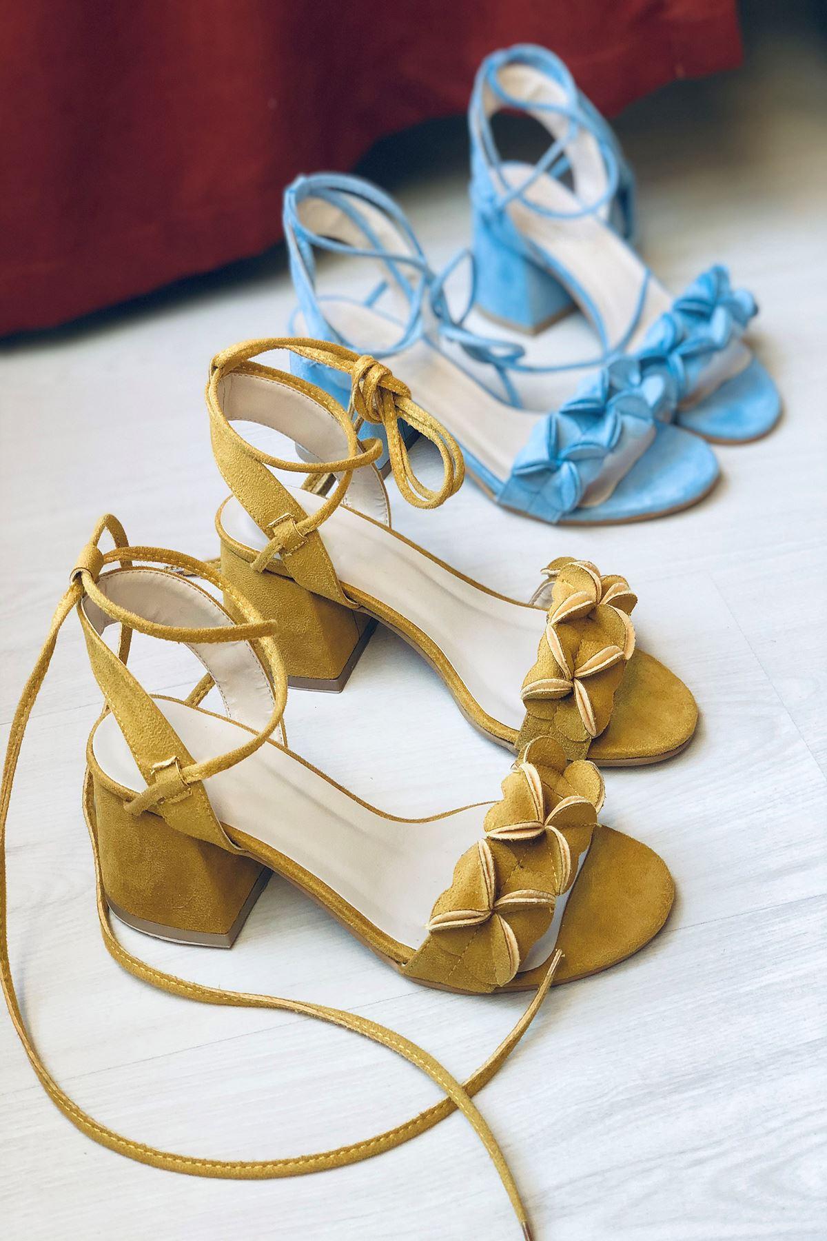Y501 Hardal Süet Topuklu Ayakkabı