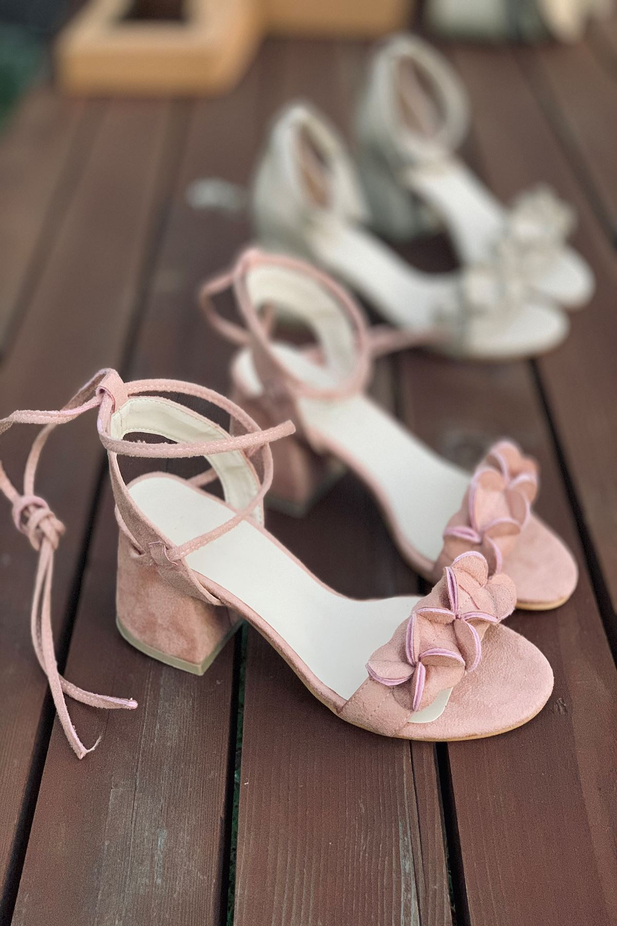 Y501 Pudra Süet Topuklu Ayakkabı