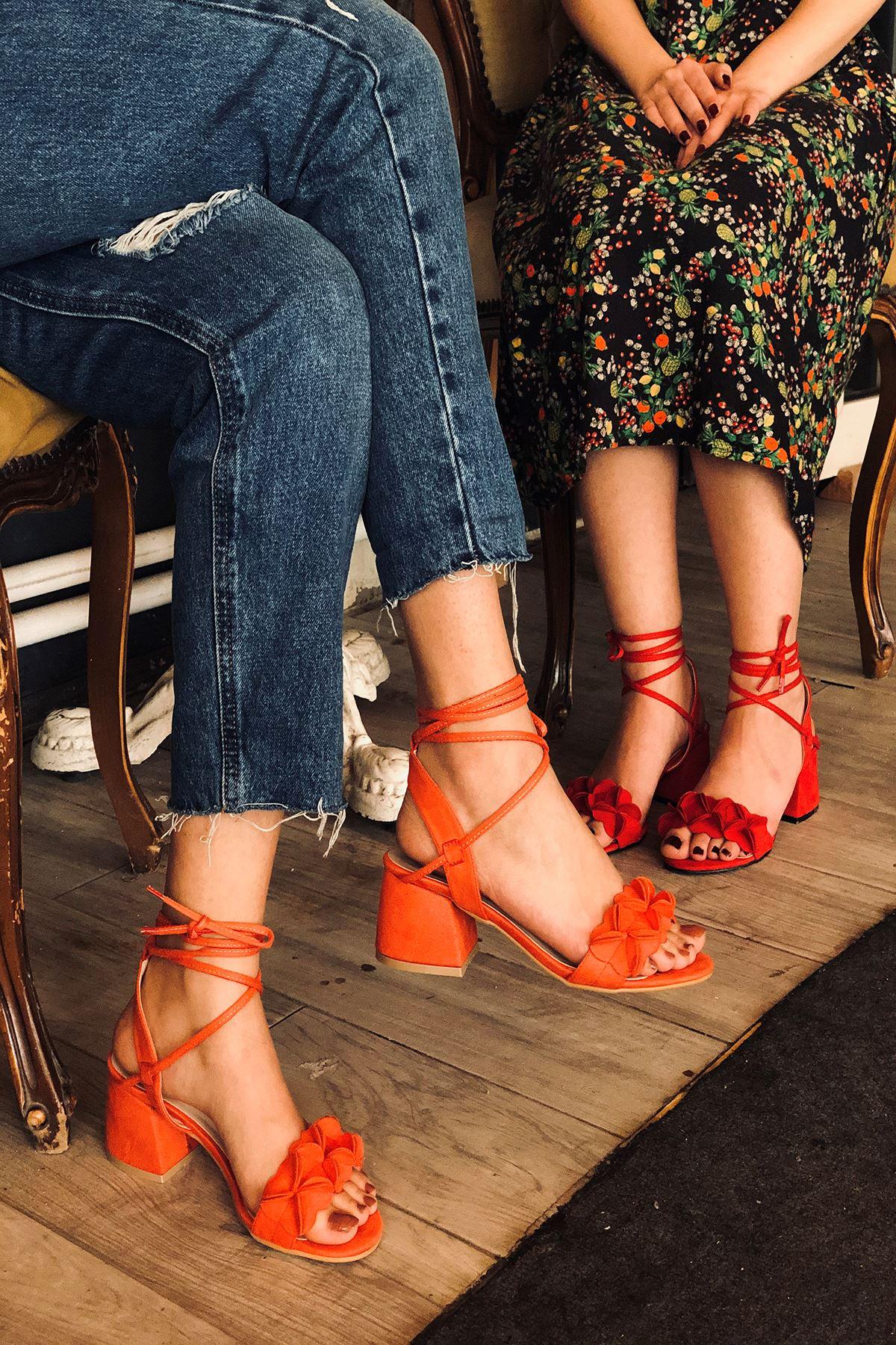 Y501 Turuncu Süet Topuklu Ayakkabı