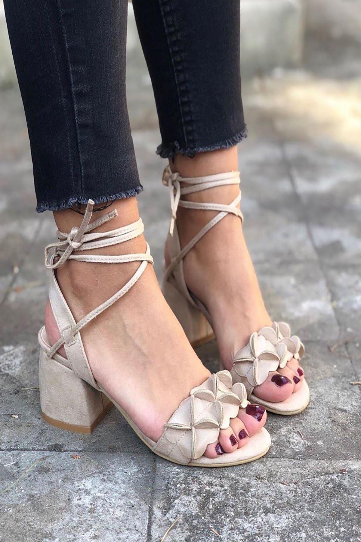 Y501 Ten Süet Topuklu Ayakkabı