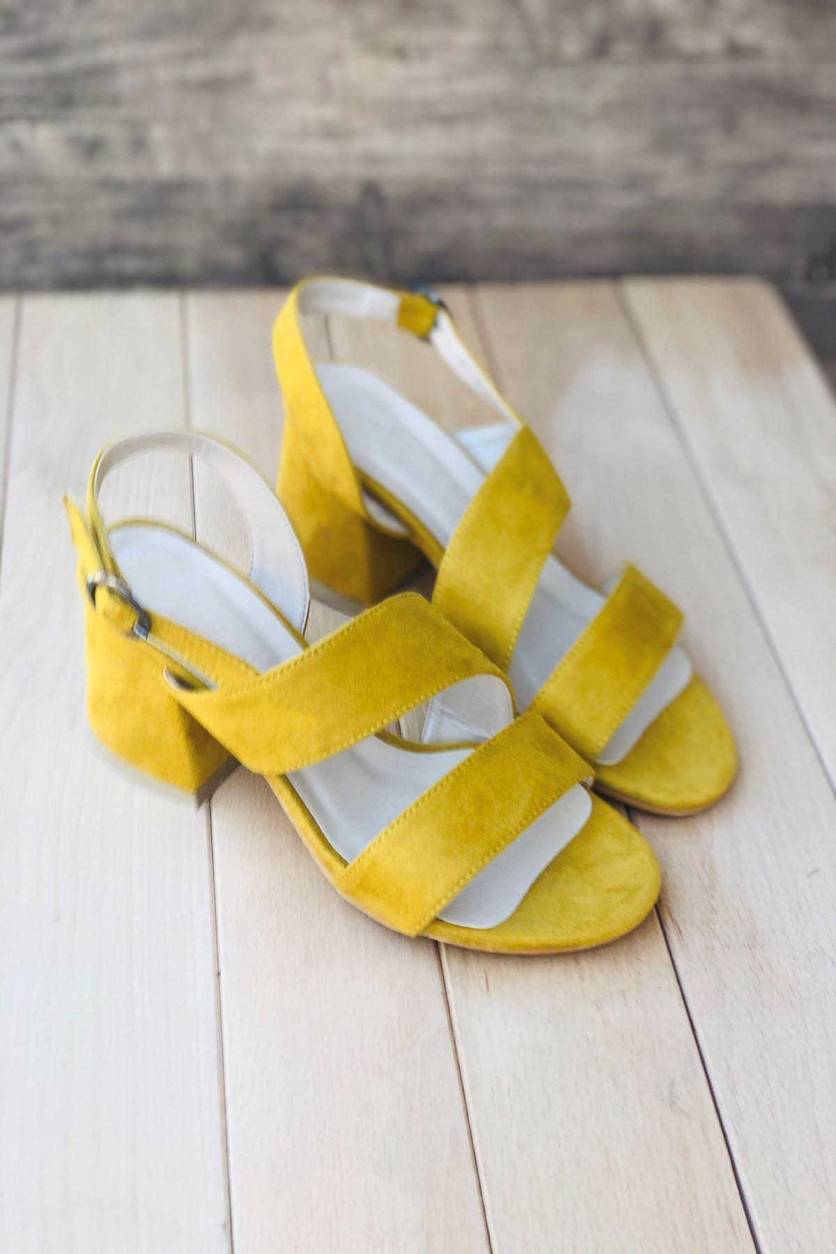 Y502 Hardal Süet Topuklu Ayakkabı