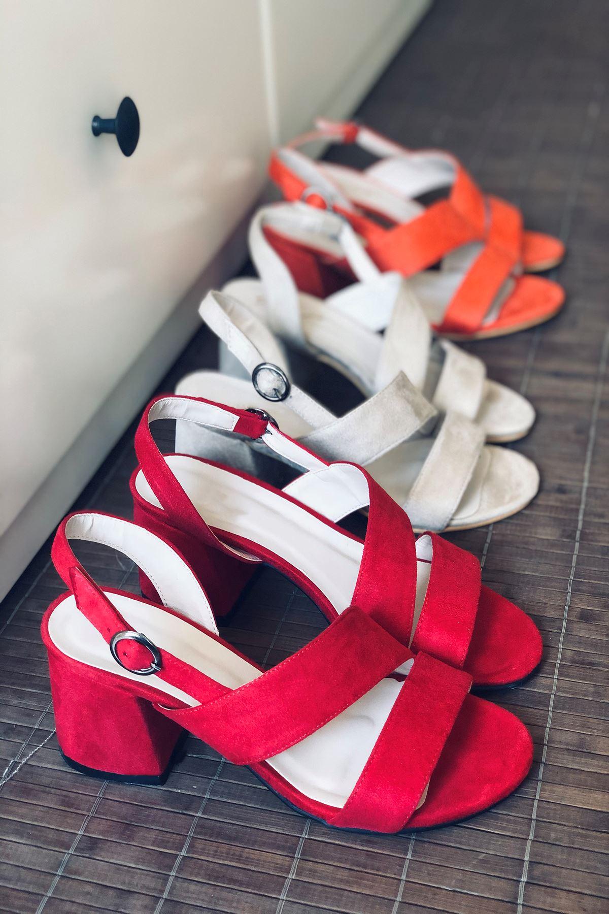 Y502 Kırmızı Süet Topuklu Ayakkabı