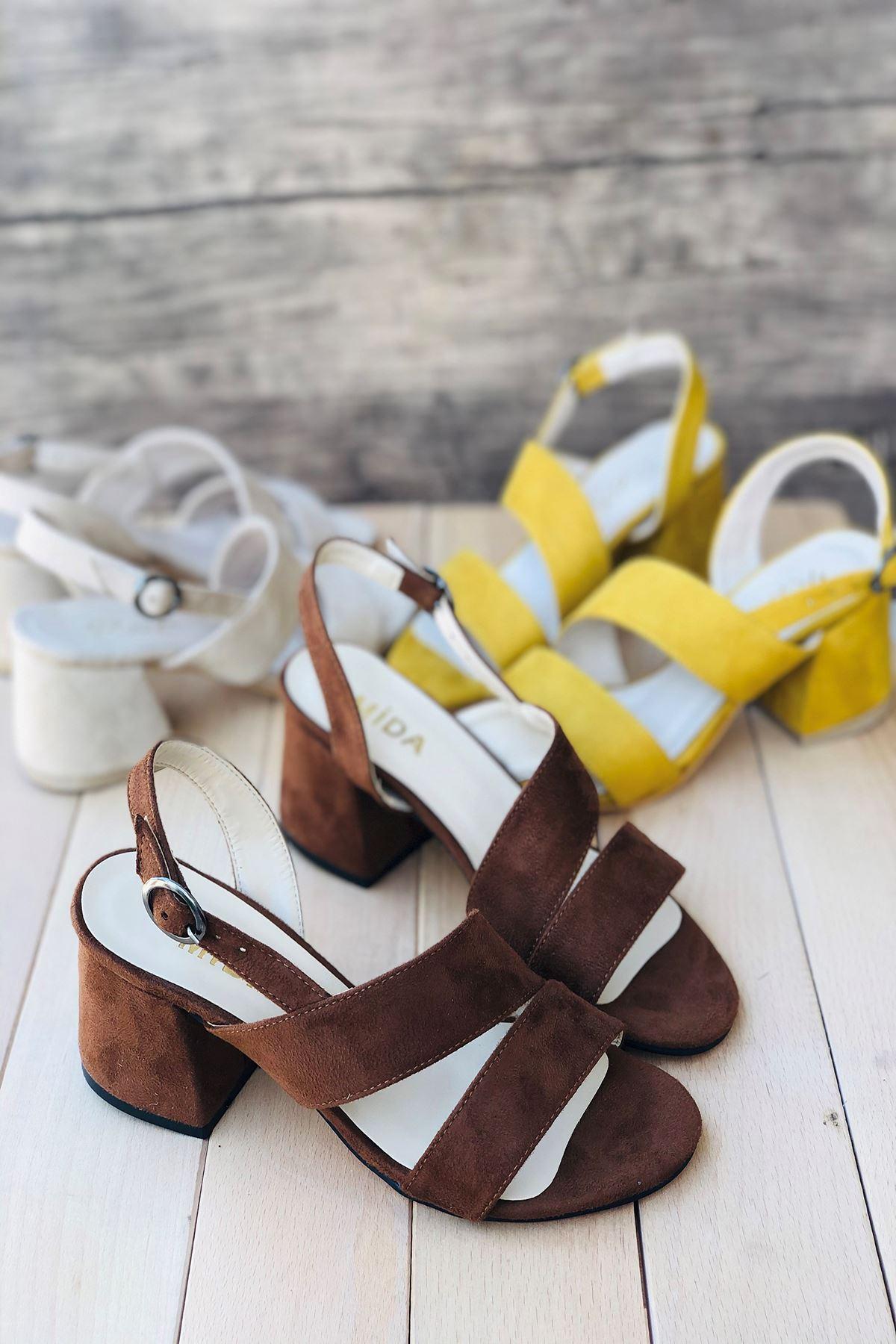 Y502 Taba Süet Topuklu Ayakkabı
