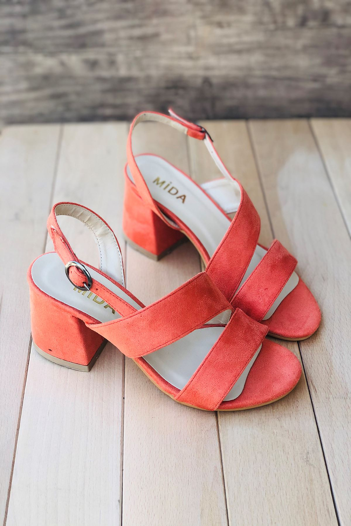 Y502 Turuncu Süet Topuklu Ayakkabı