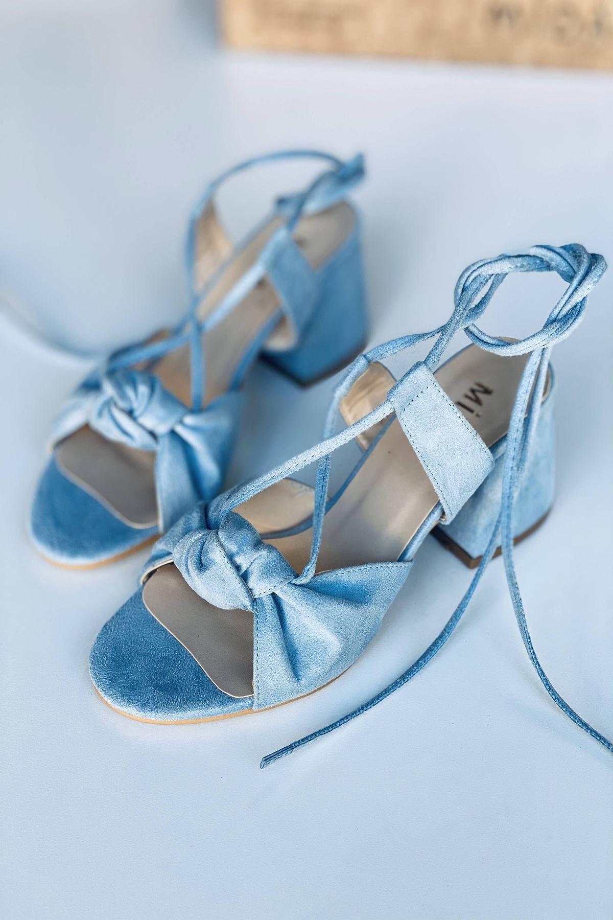 Y551 Bebe Mavi Süet Topuklu Ayakkabı