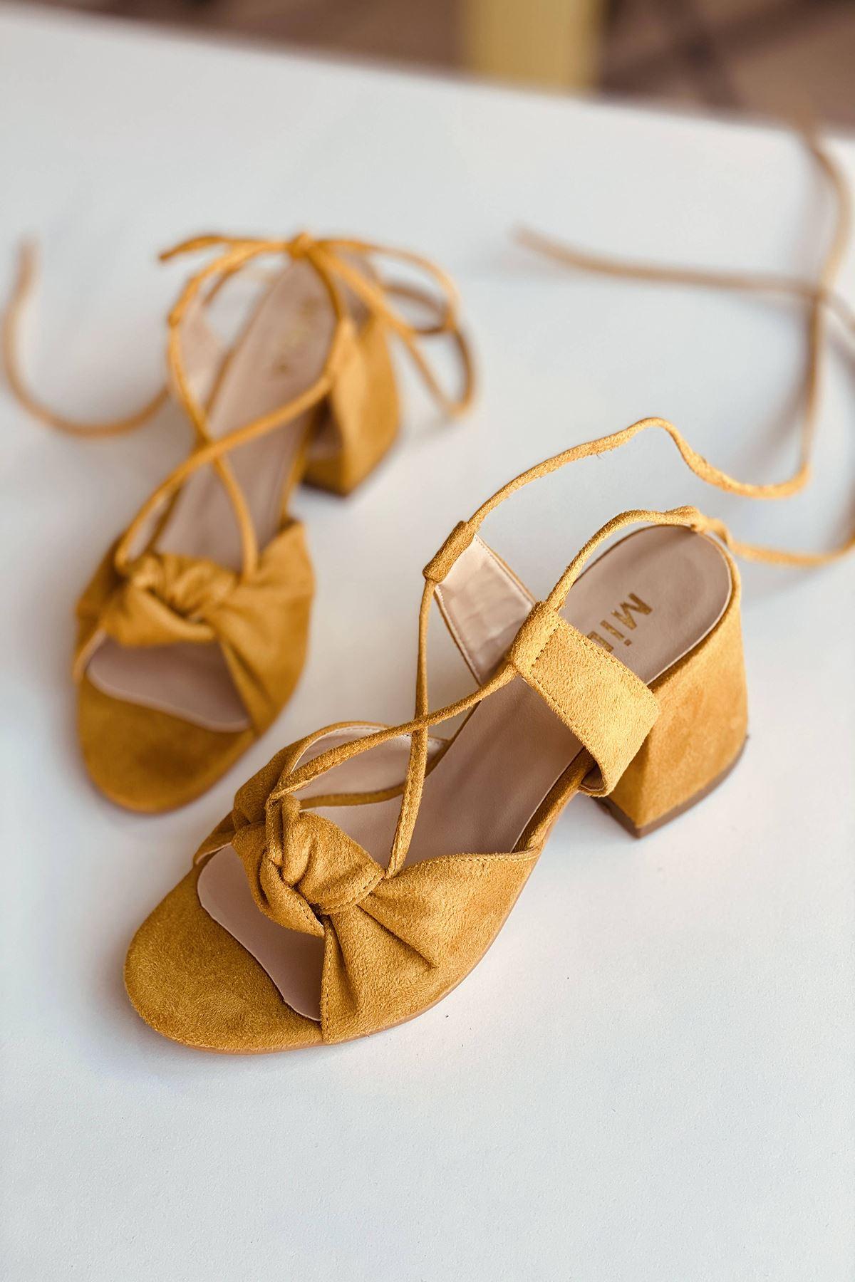 Y551 Hardal Süet Topuklu Ayakkabı