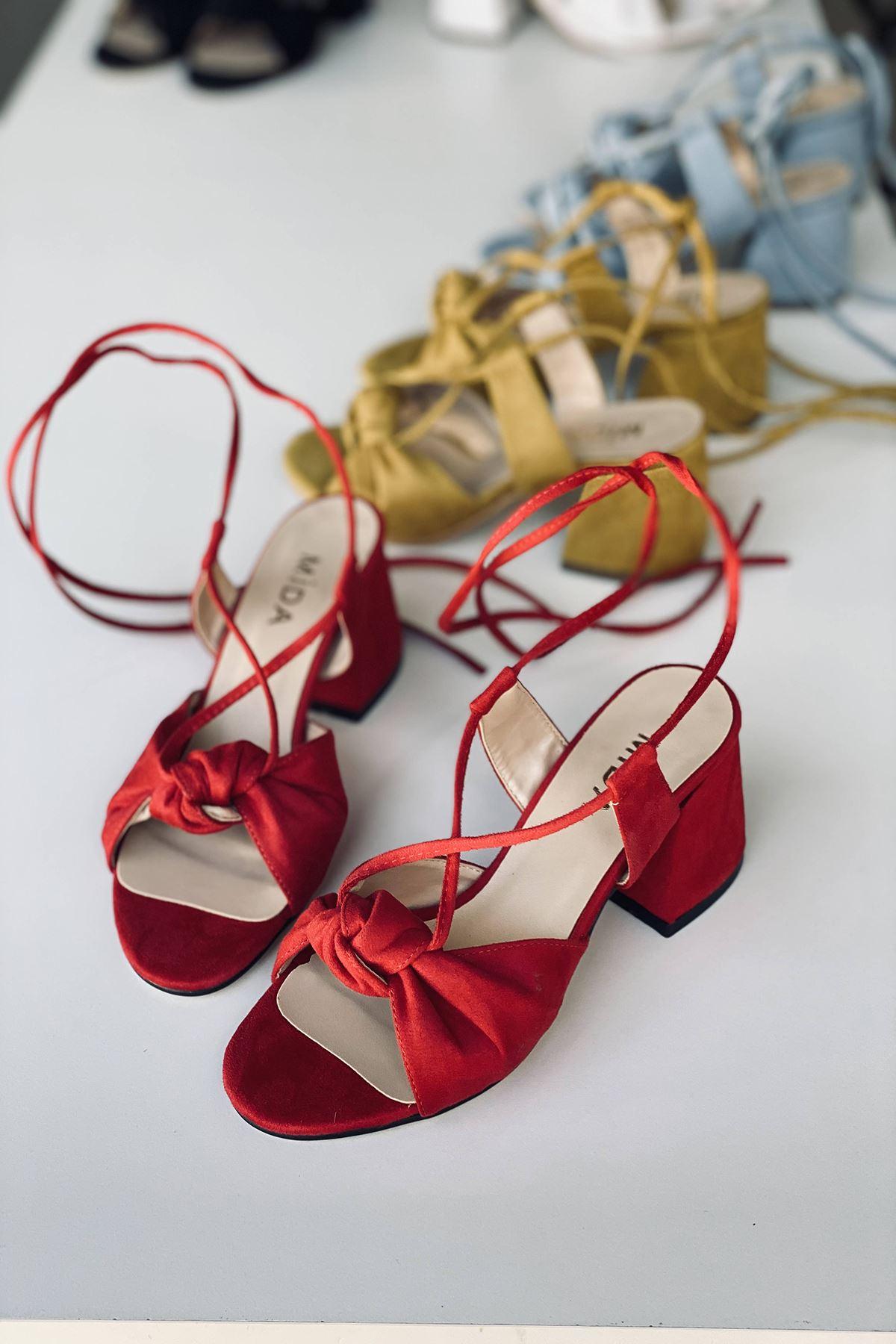 Y551 Kırmızı Süet Topuklu Ayakkabı