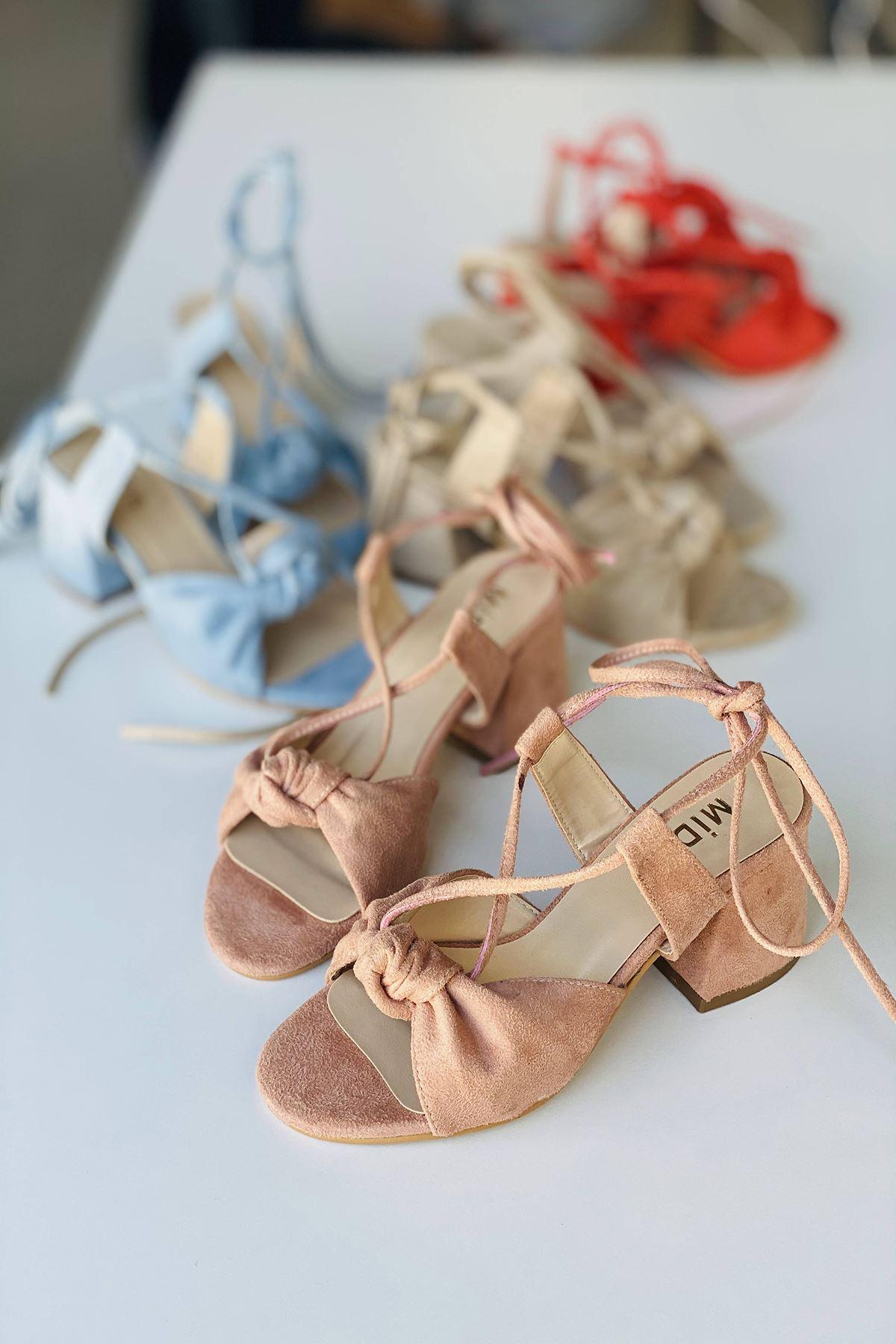 Y551 Pudra Süet Topuklu Ayakkabı