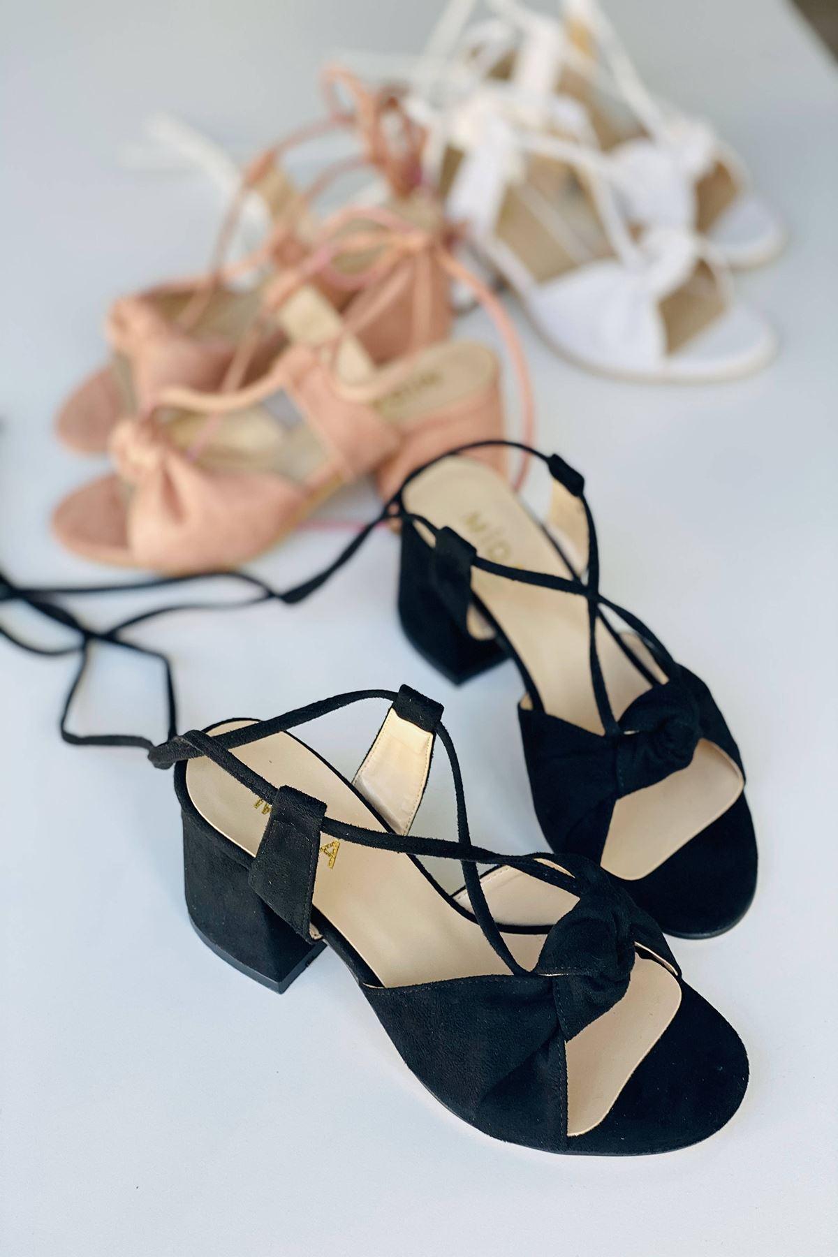 Y551 Siyah Süet Topuklu Ayakkabı