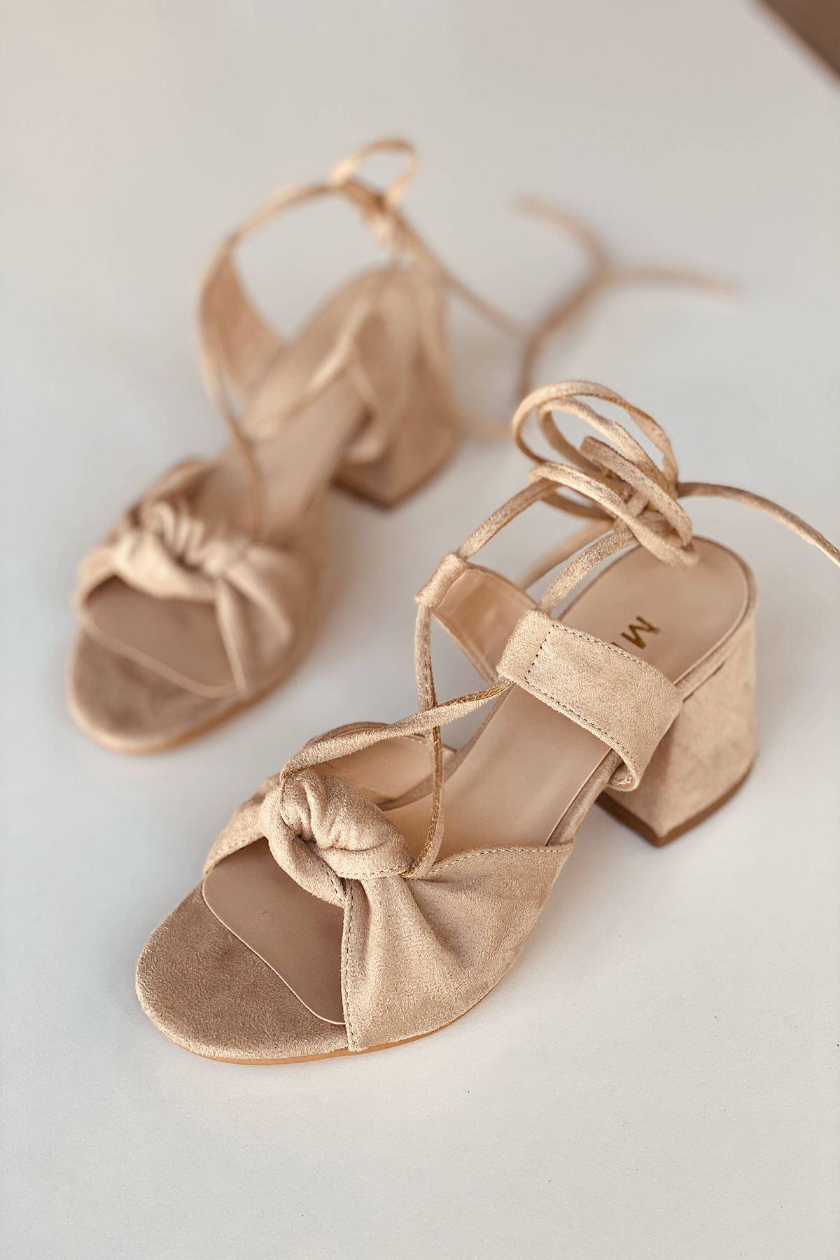 Y551 Ten Süet Topuklu Ayakkabı