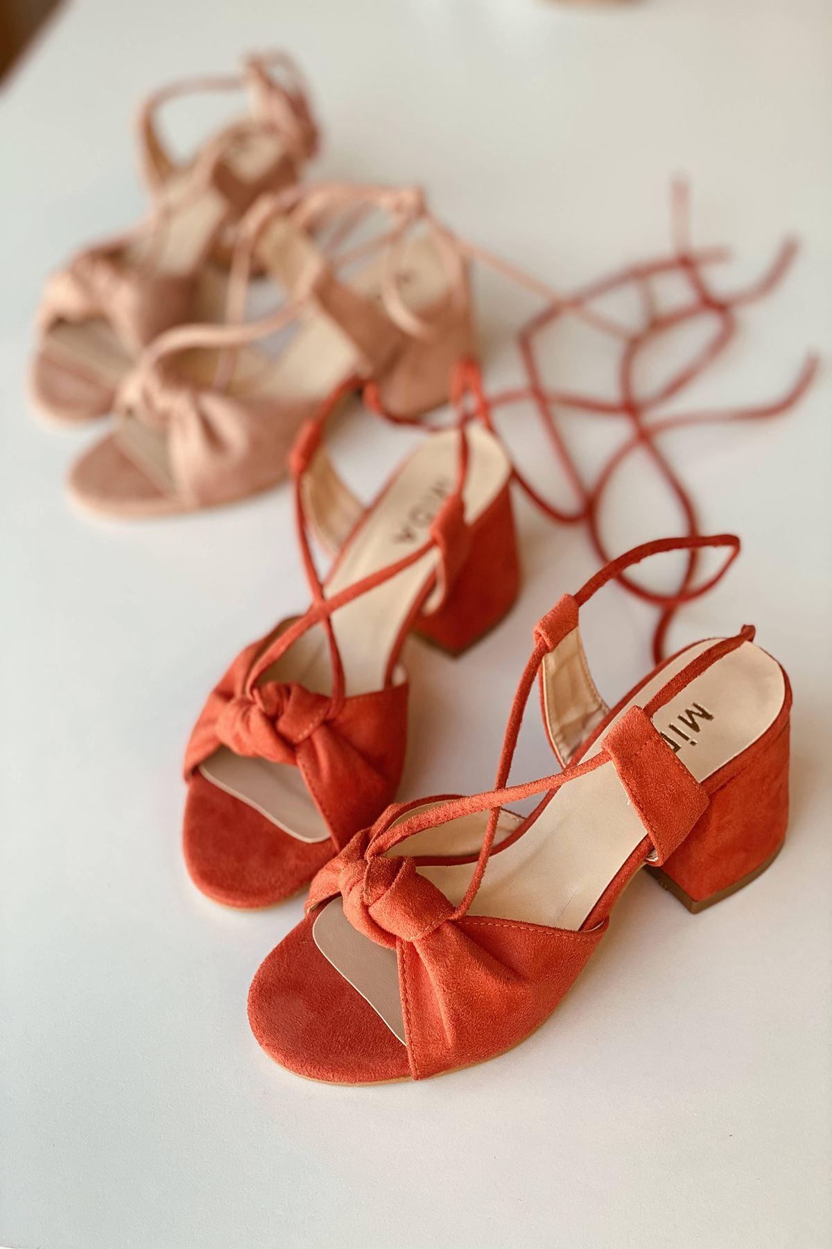 Y551 Turuncu Süet Topuklu Ayakkabı