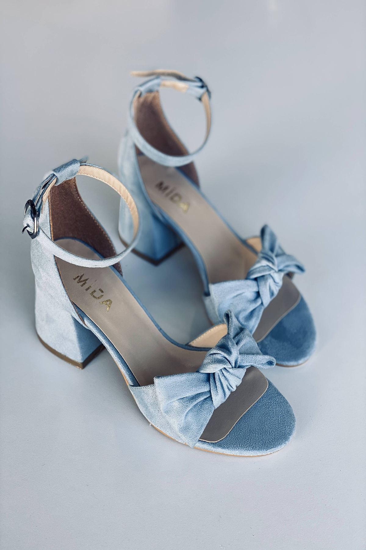 Y553 Bebe Mavi Süet Topuklu Ayakkabı