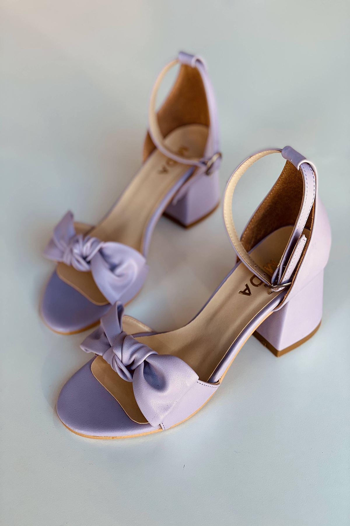 Y553 Lila Deri Topuklu Ayakkabı