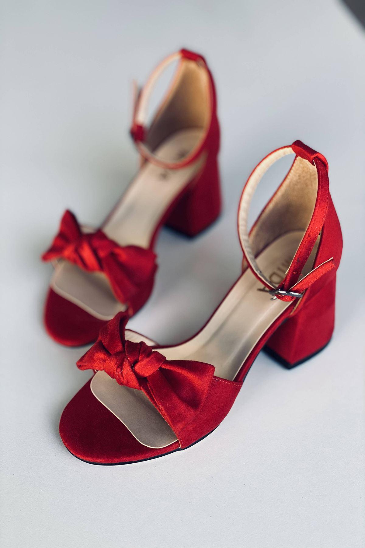 Y553 Kırmızı Süet Topuklu Ayakkabı