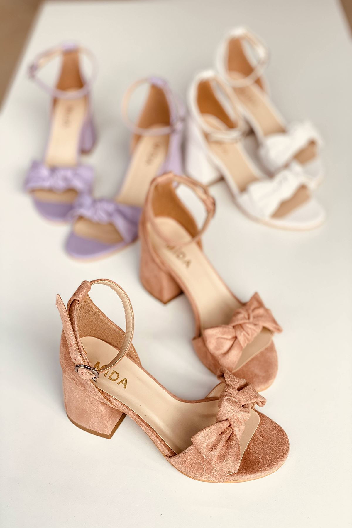 Y553 Pudra Süet Topuklu Ayakkabı