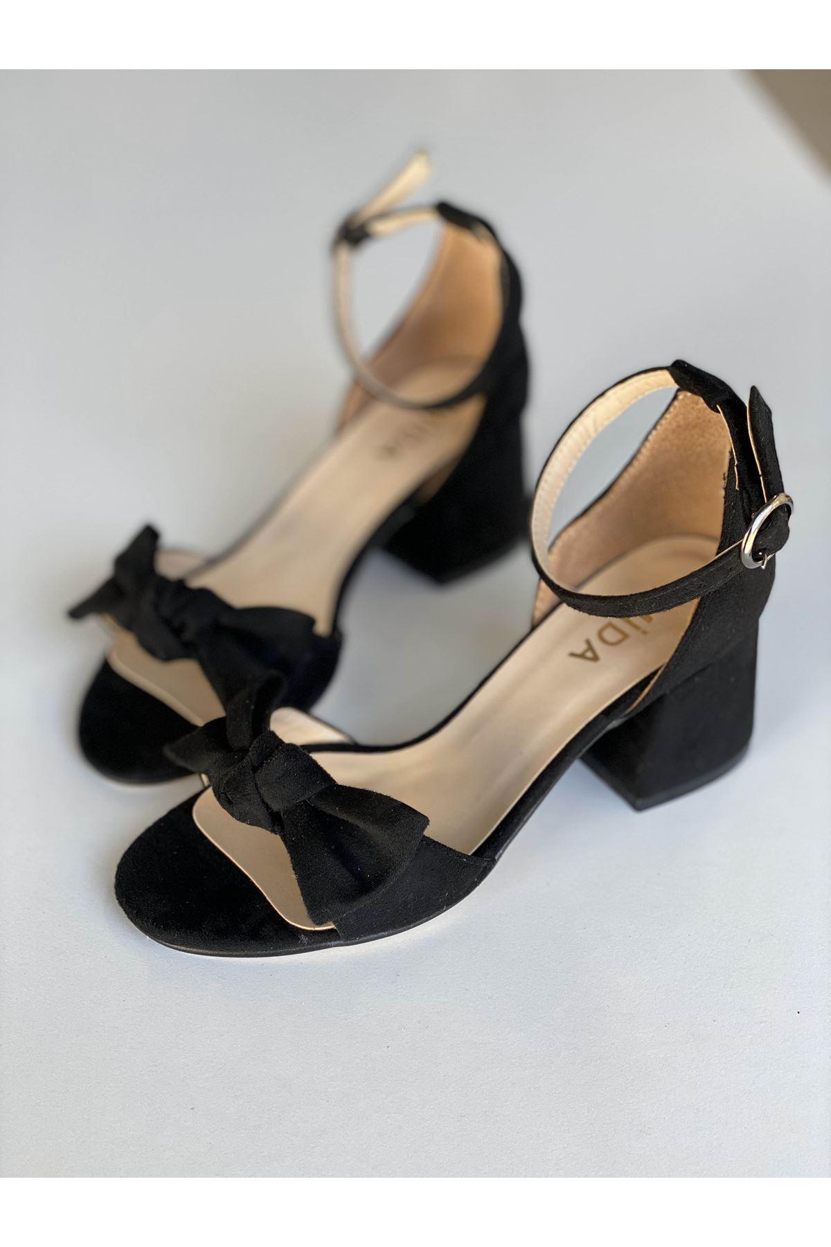 Y553 Siyah Süet Topuklu Ayakkabı
