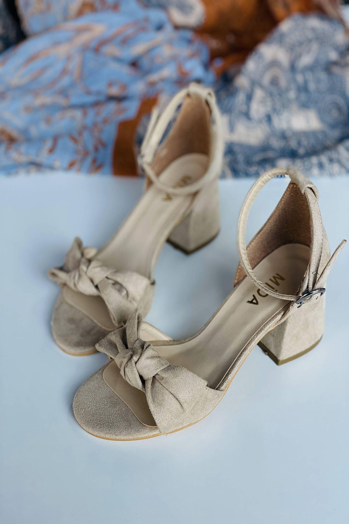 Y553 Ten Süet Topuklu Ayakkabı
