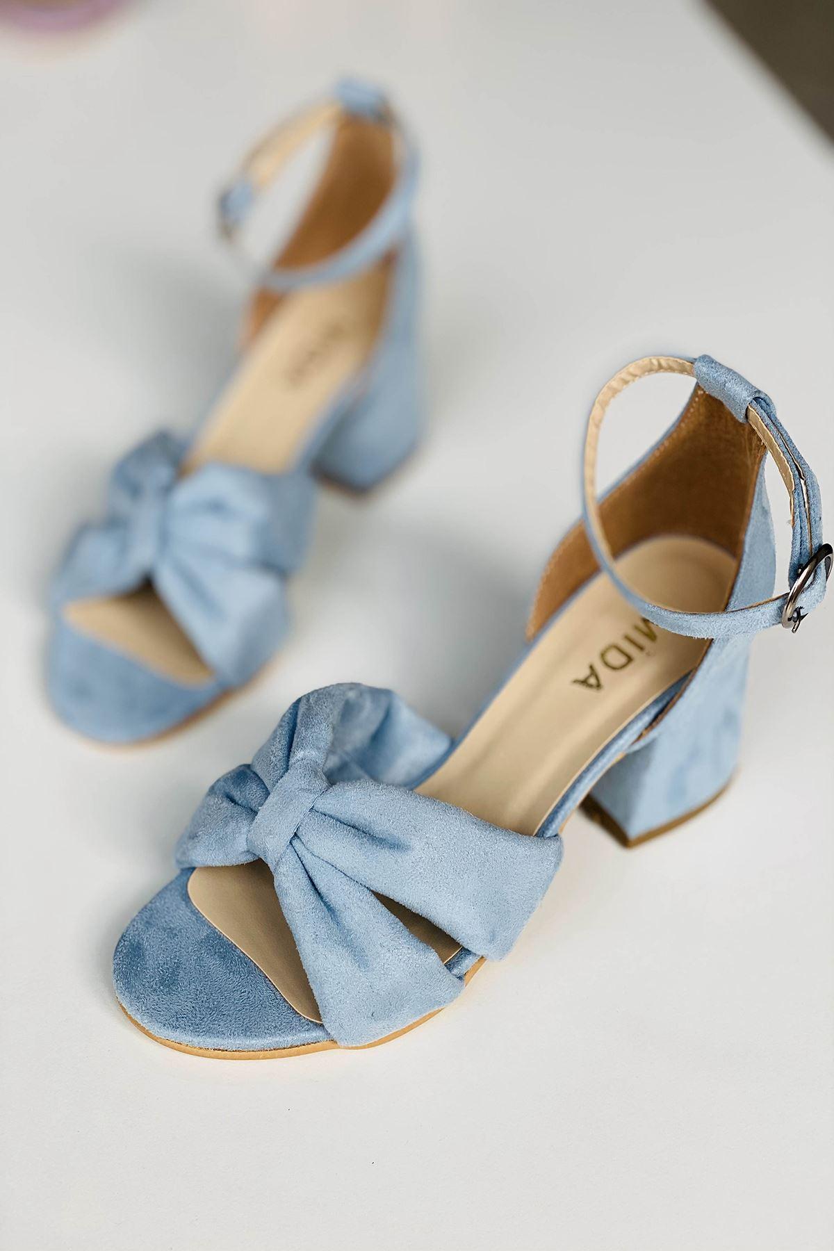 Y554 Bebe Mavi Süet Topuklu Ayakkabı