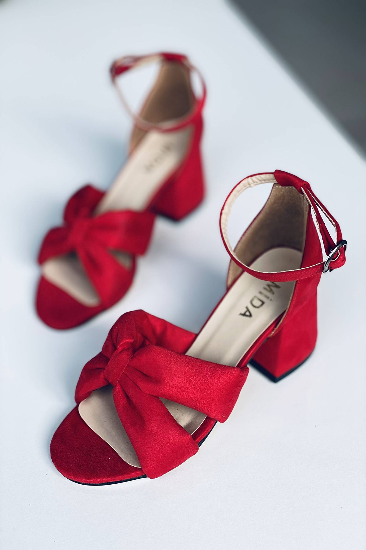 Y554 Kırmızı Süet Topuklu Ayakkabı