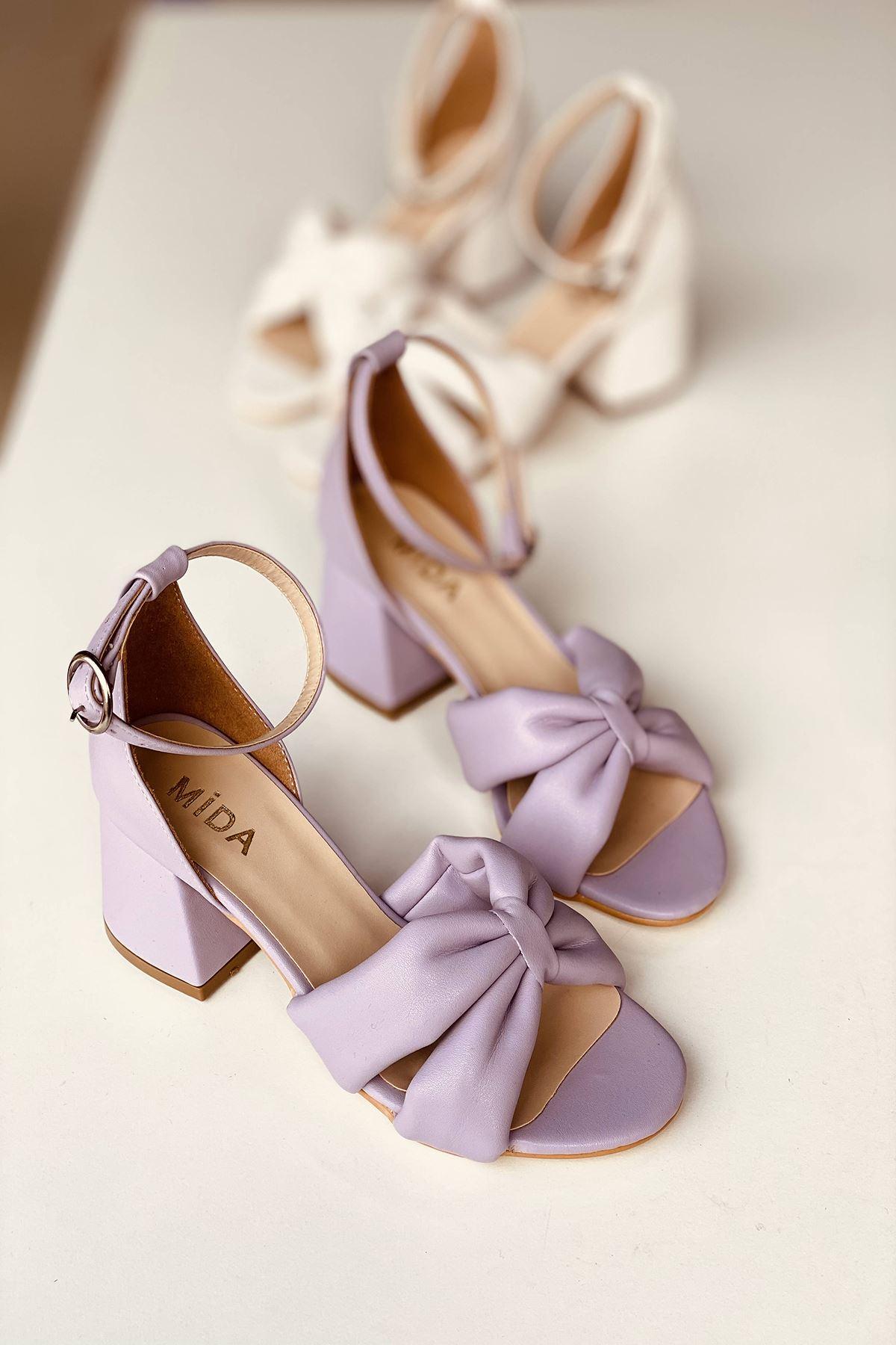 Y554 Lila Deri Topuklu Ayakkabı