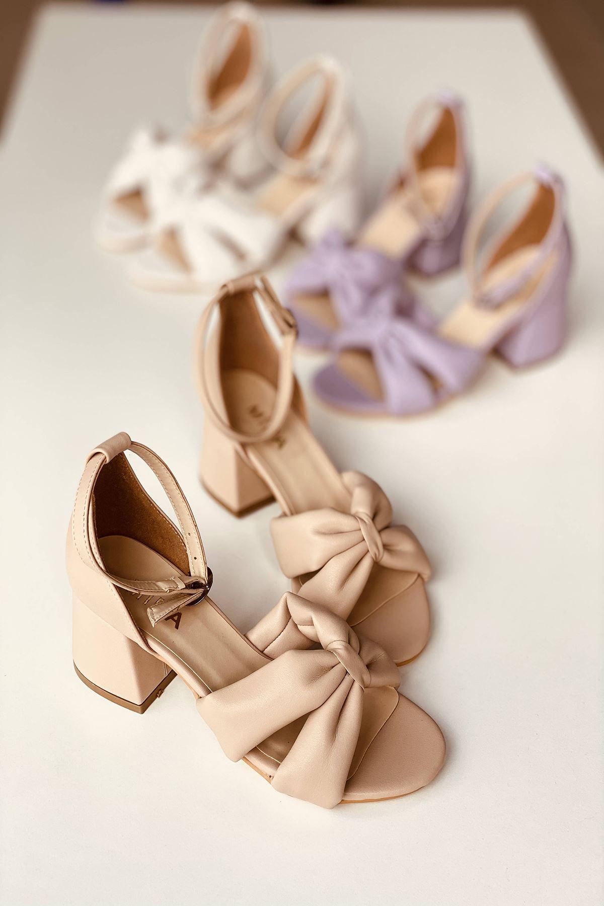 Y554 Ten Deri Topuklu Ayakkabı