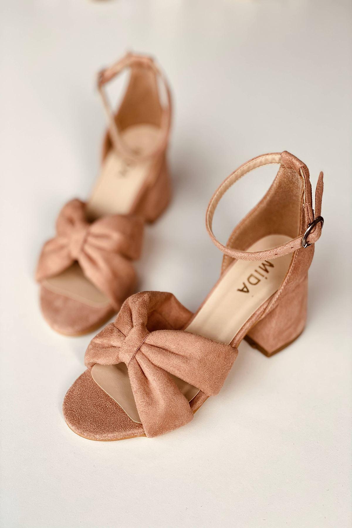 Y554 Pudra Süet Topuklu Ayakkabı