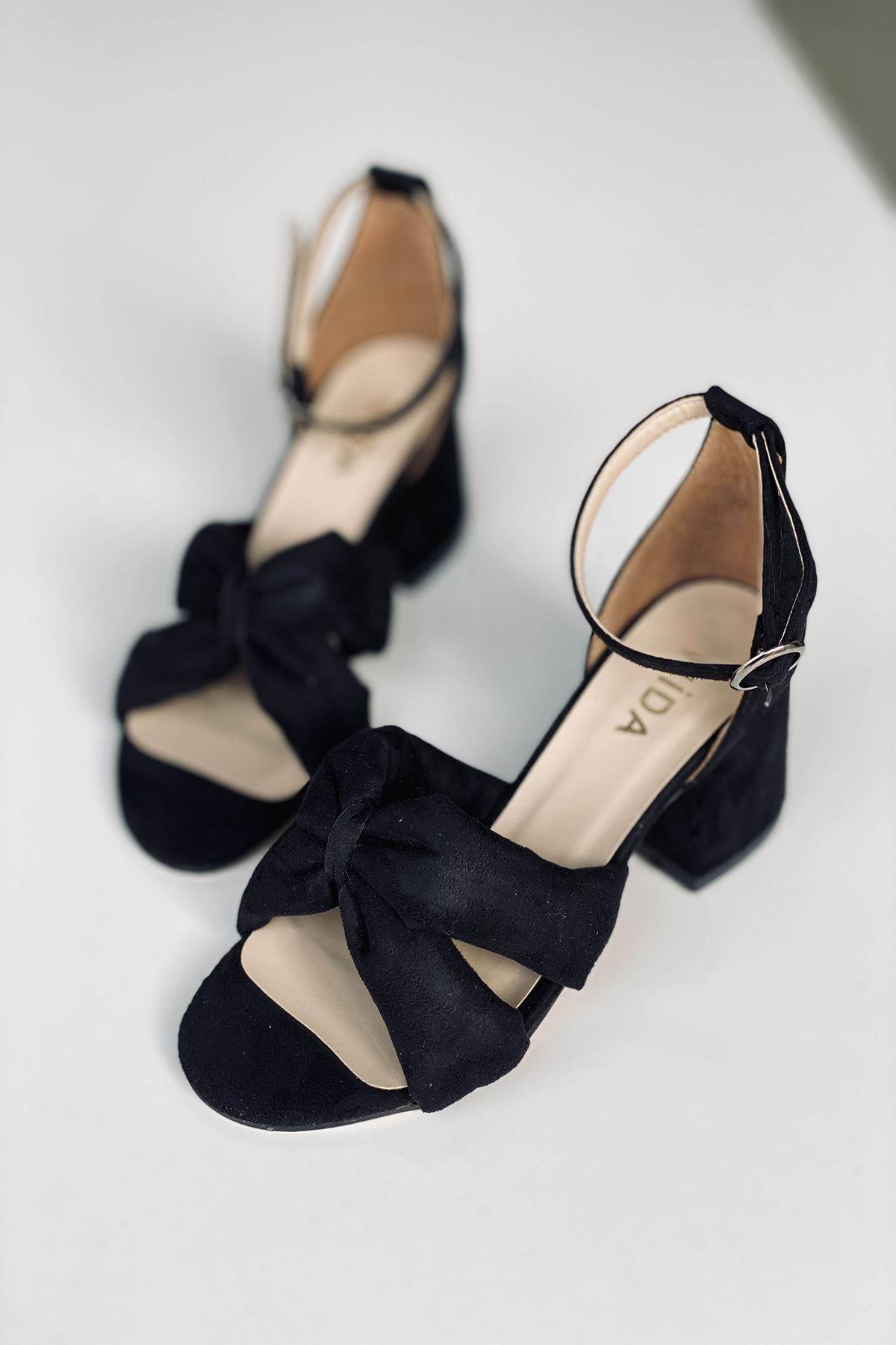 Y554 Siyah Süet Topuklu Ayakkabı
