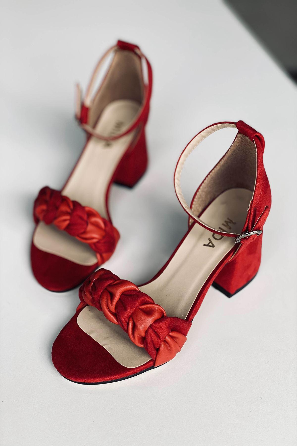 Y555 Kırmızı Deri Topuklu Ayakkabı