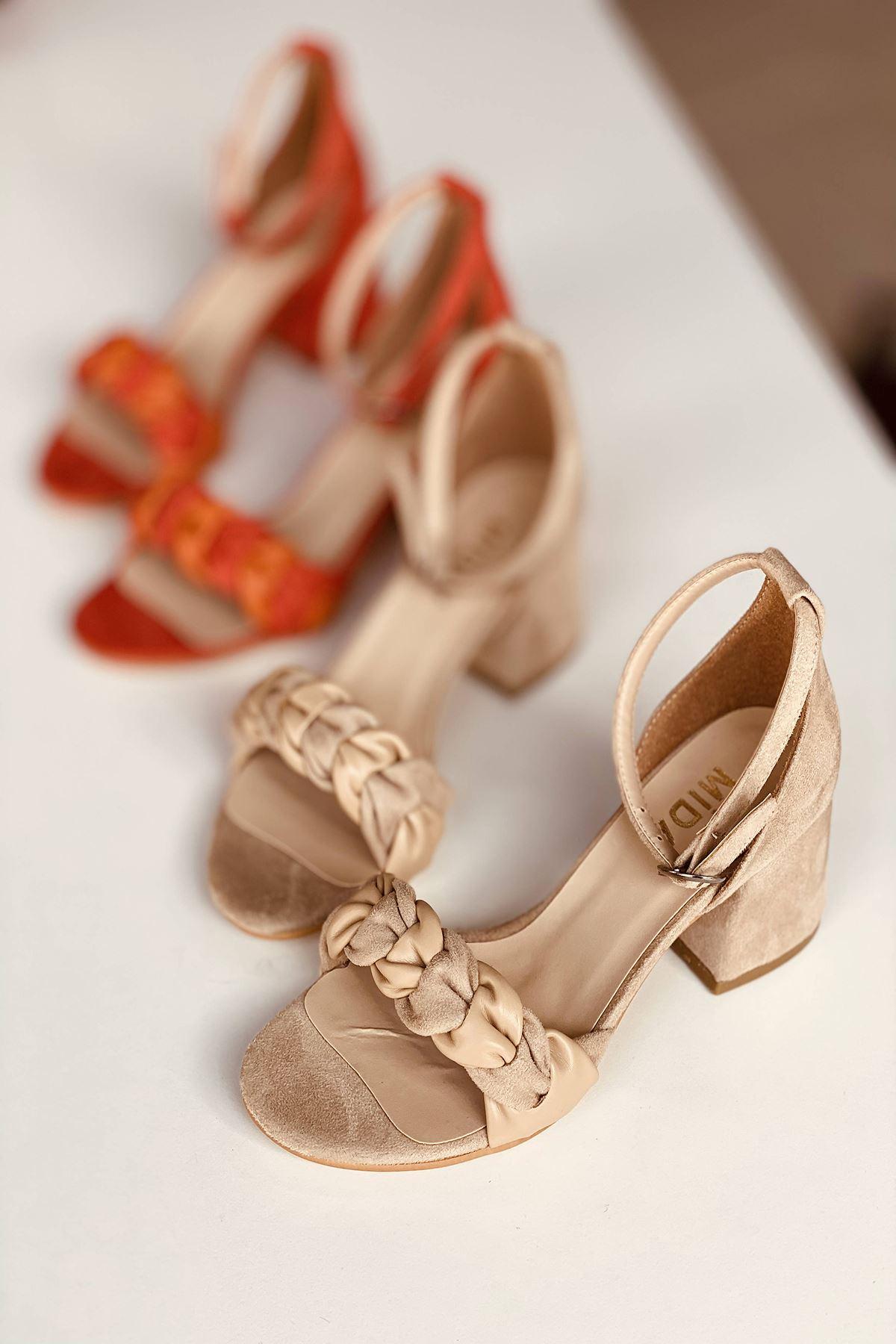 Y555 Ten Deri Topuklu Ayakkabı