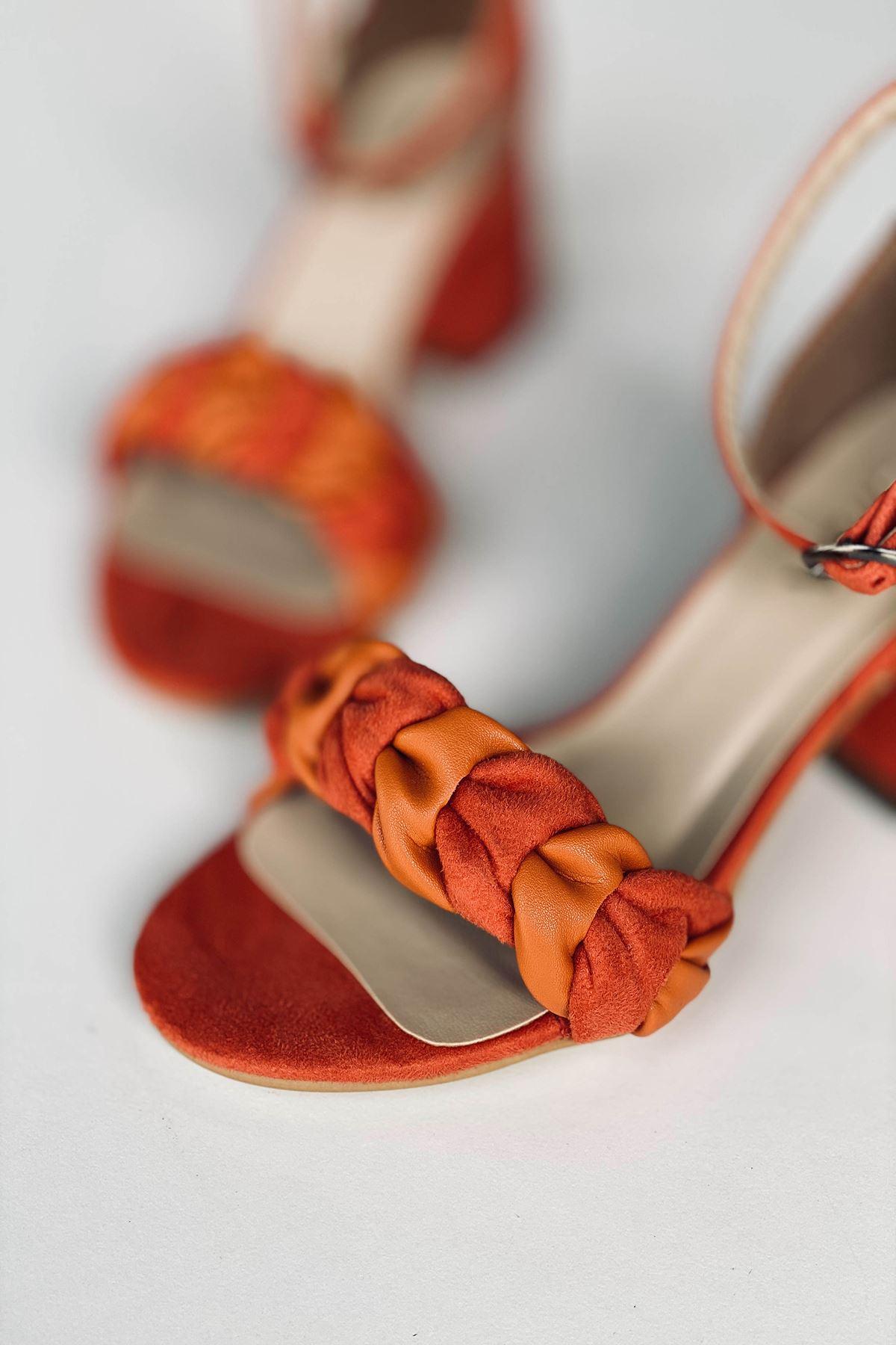 Y555 Turuncu Deri Topuklu Ayakkabı