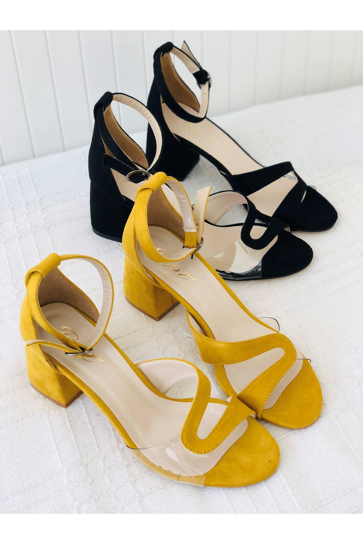 Y610 Hardal Suet Topuklu Ayakkabı