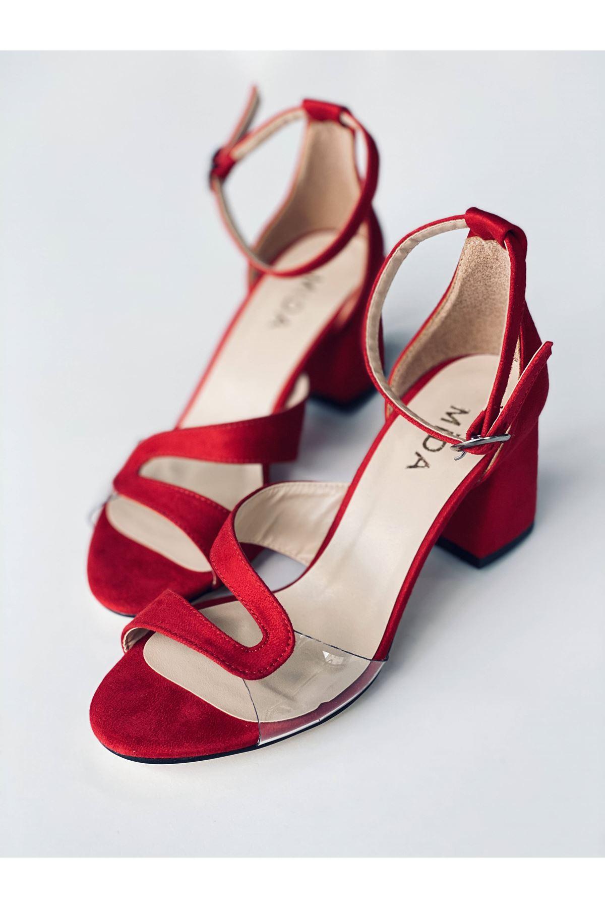 Y610 Kırmızı Suet Topuklu Ayakkabı