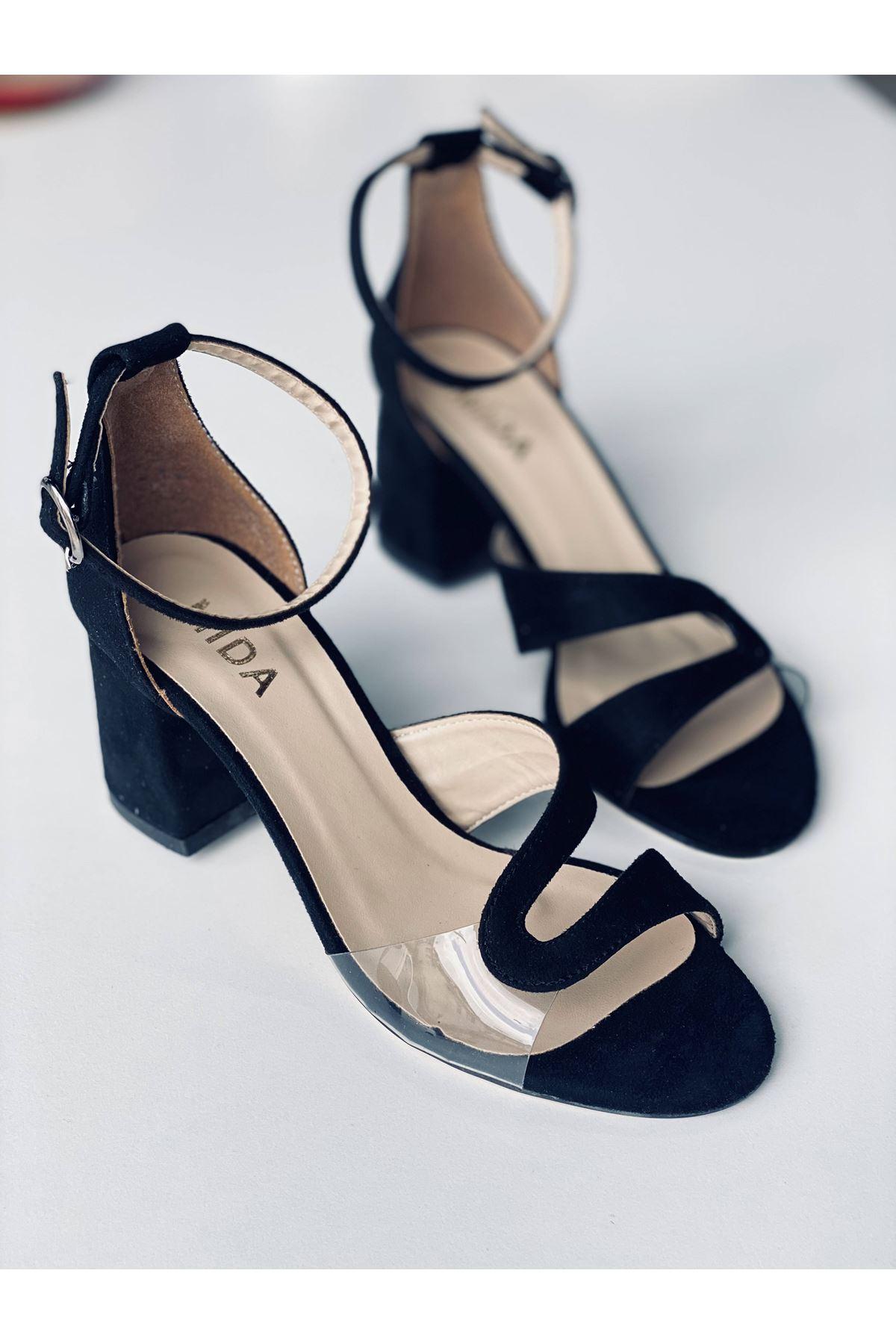 Y610 Siyah Suet Topuklu Ayakkabı
