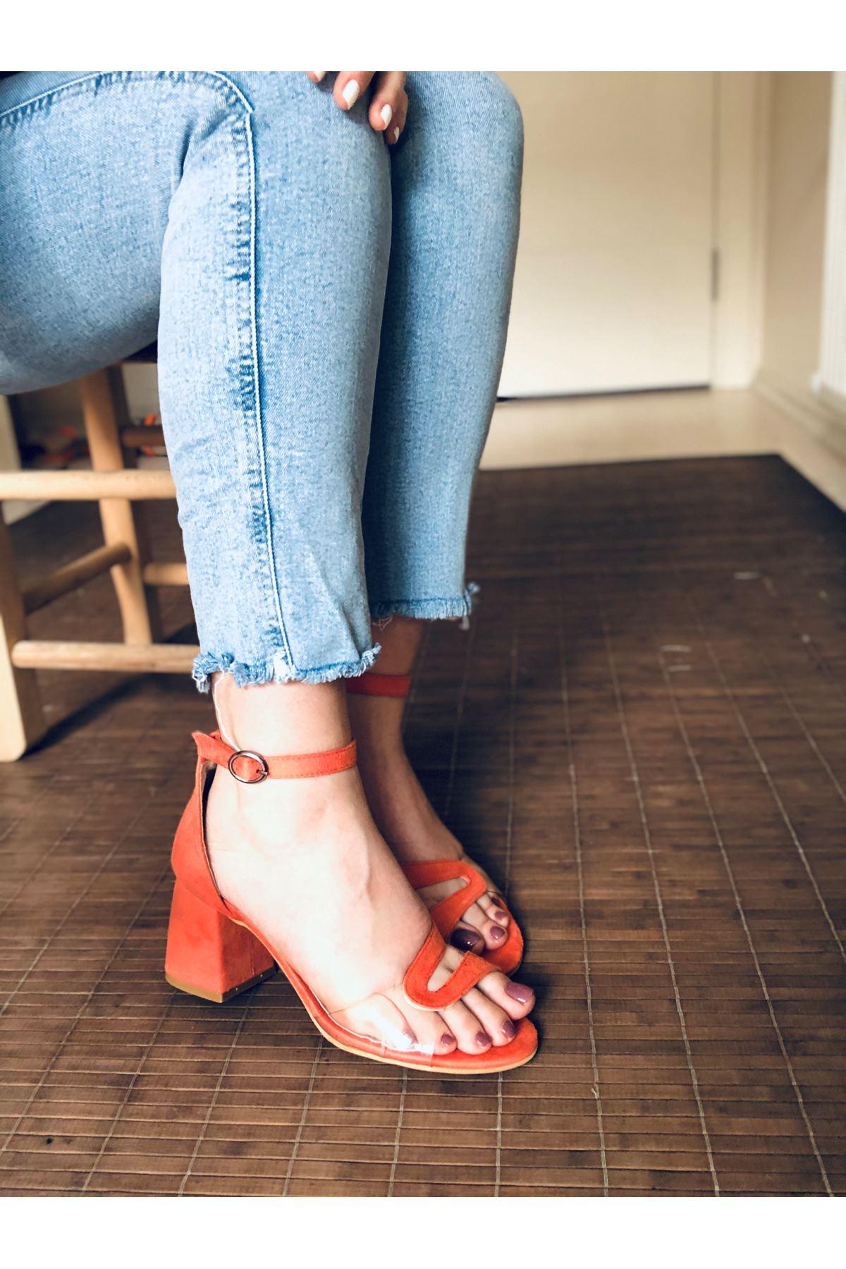 Y610 Turuncu Suet Topuklu Ayakkabı