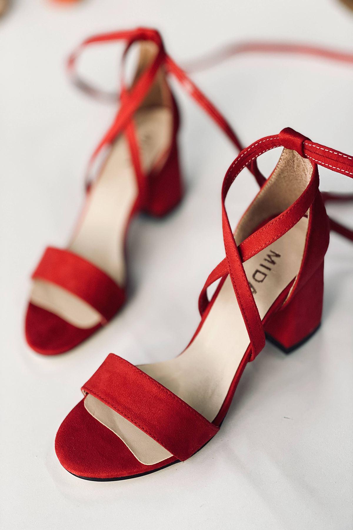 Y615 Kırmızı Süet Topuklu Ayakkabı