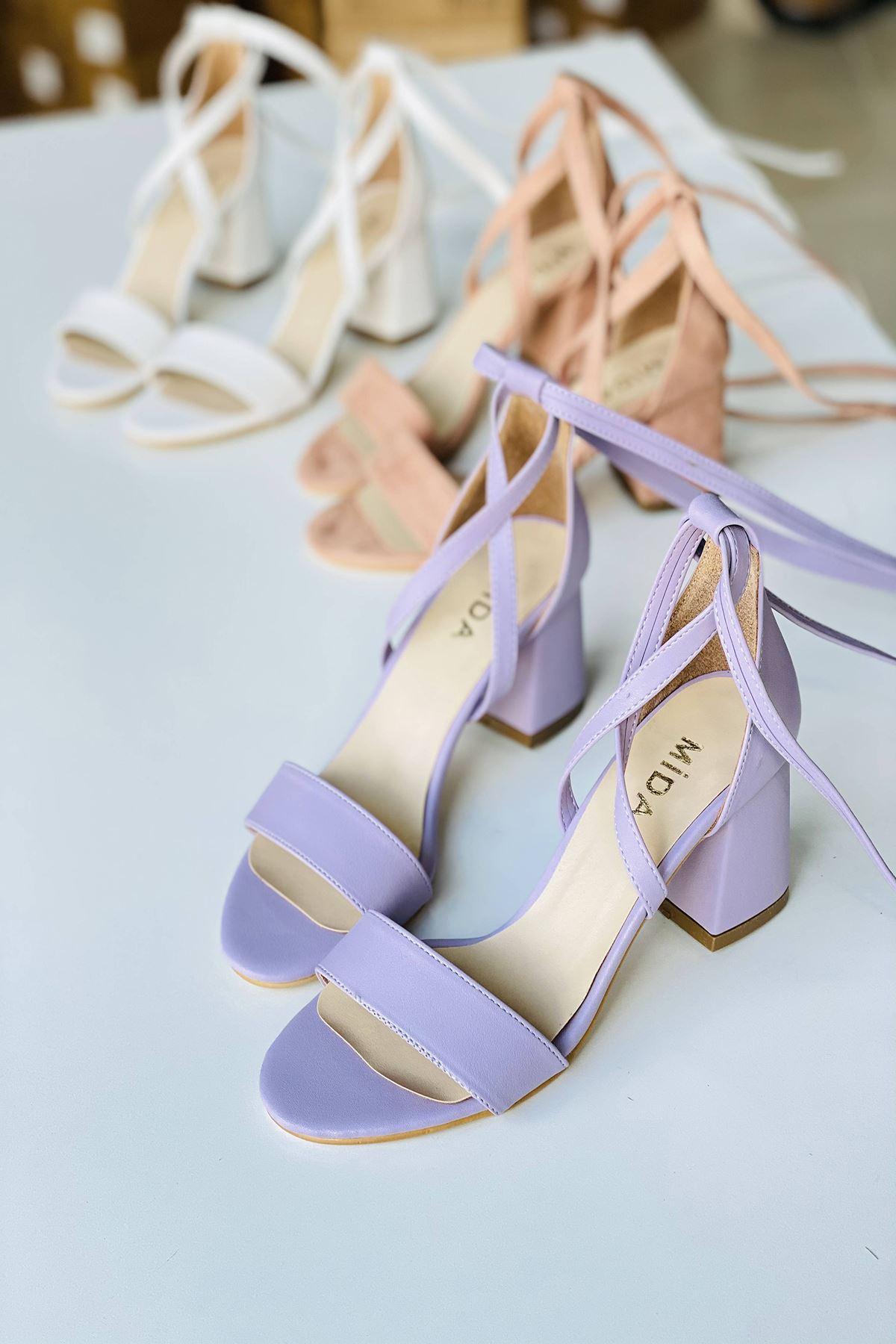 Y615 Lila Deri Topuklu Ayakkabı