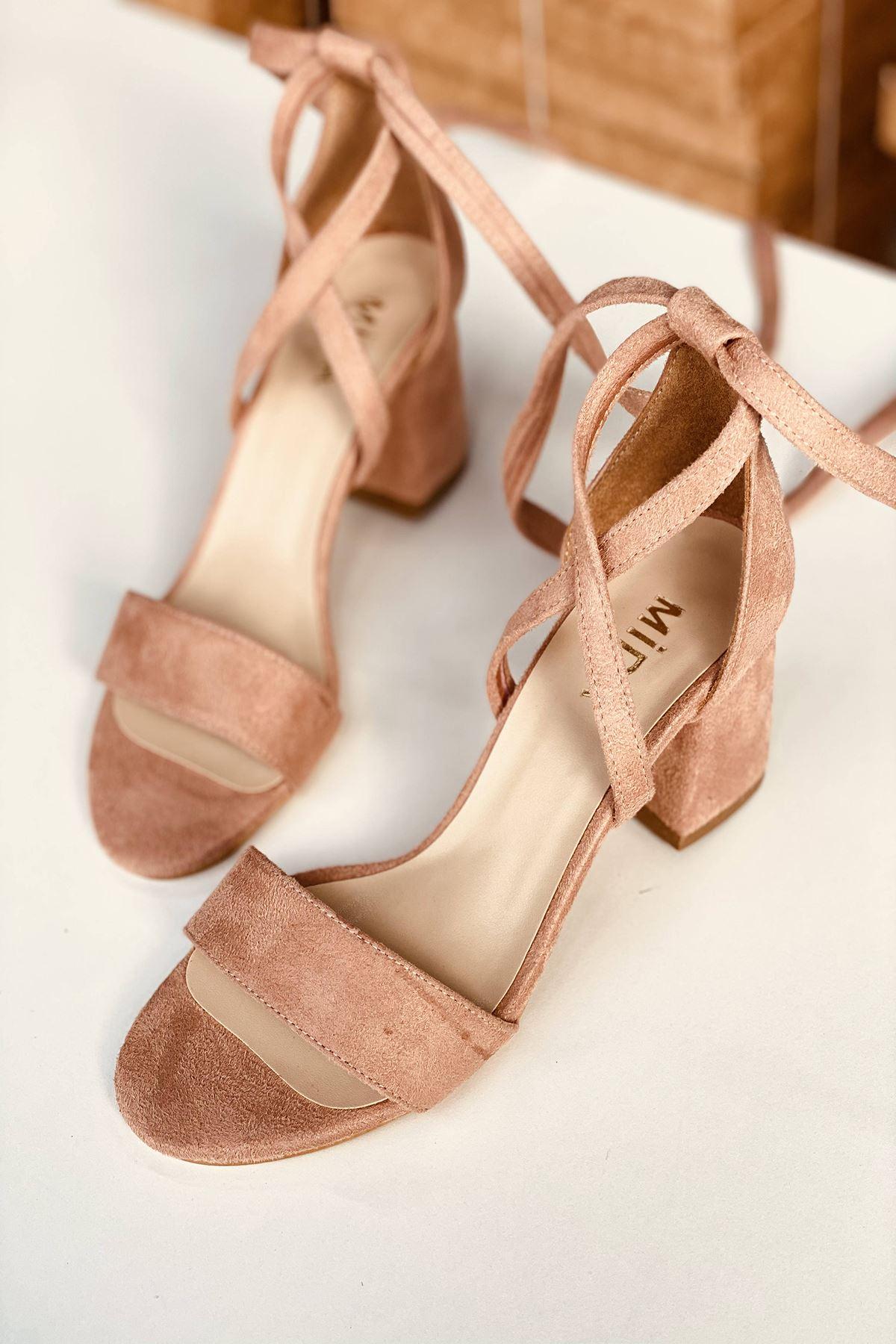 Y615 Pudra Süet Topuklu Ayakkabı
