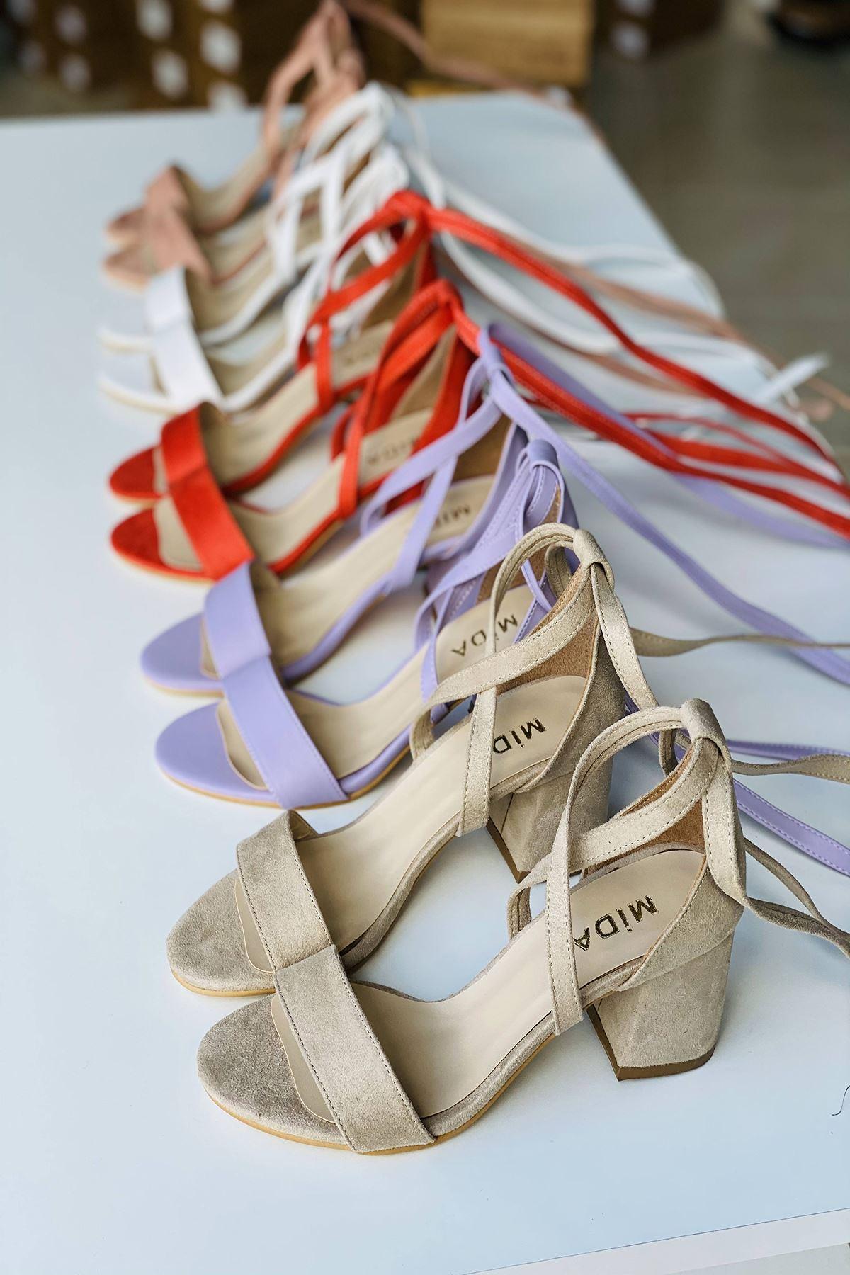 Y615 Ten Süet Topuklu Ayakkabı