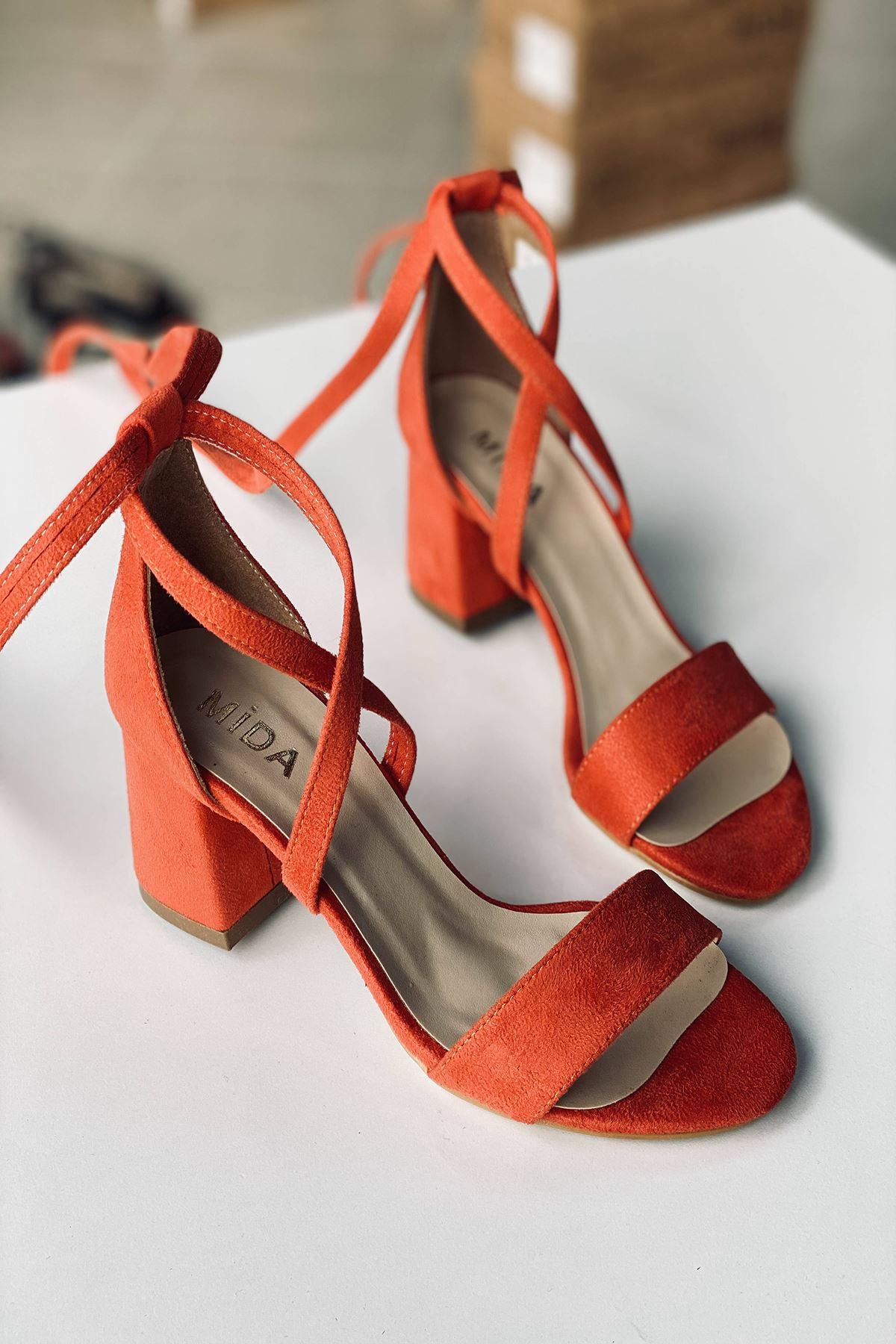 Y615 Turuncu Süet Topuklu Ayakkabı