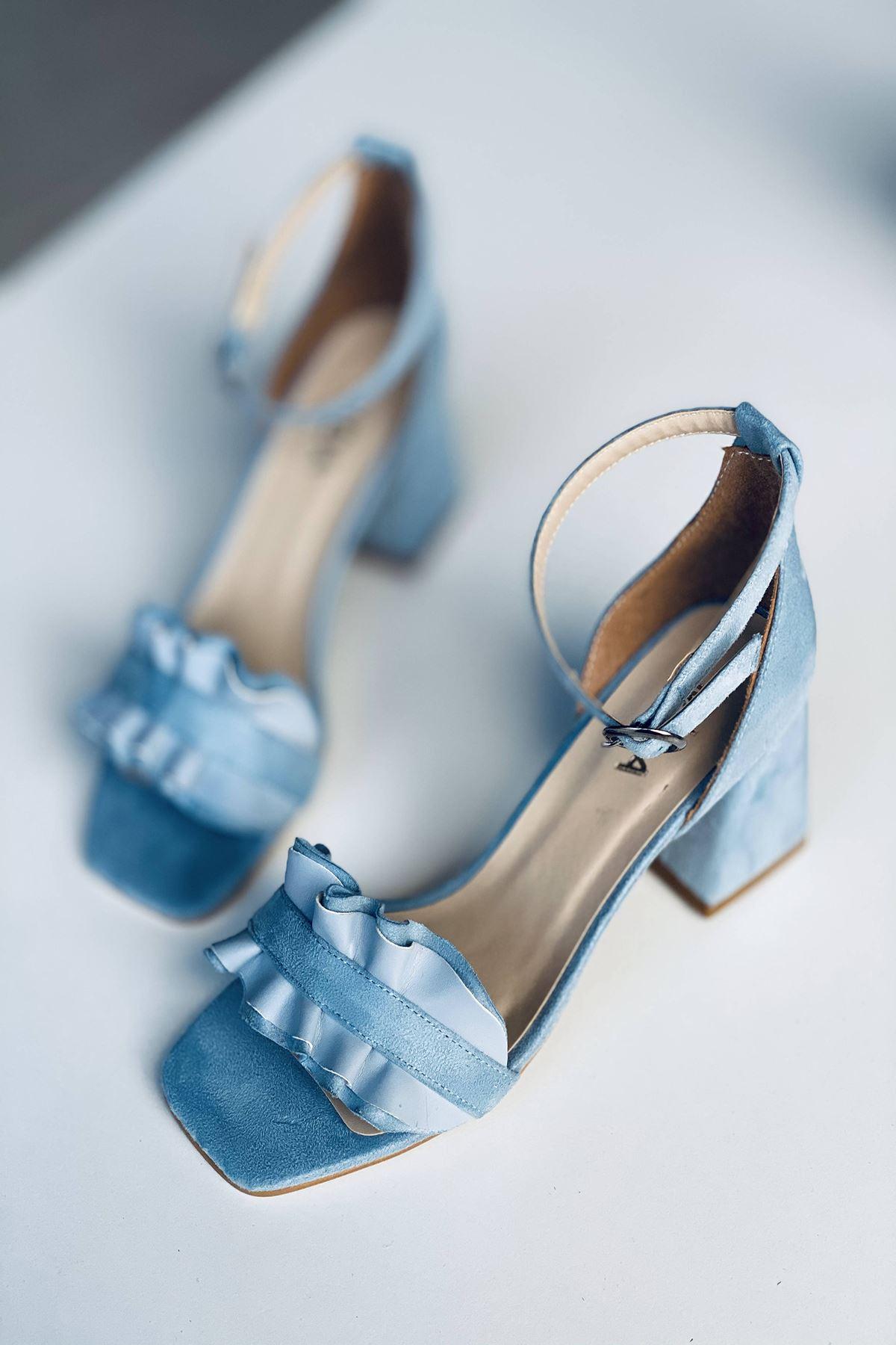 Y700 Bebe Mavi Süet Topuklu Ayakkabı