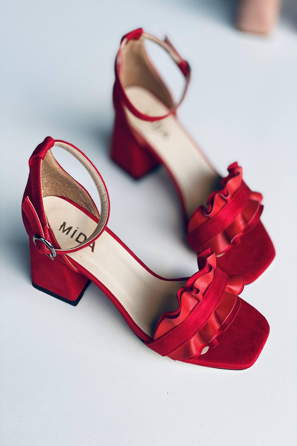 Y700 Kırmızı Süet Topuklu Ayakkabı