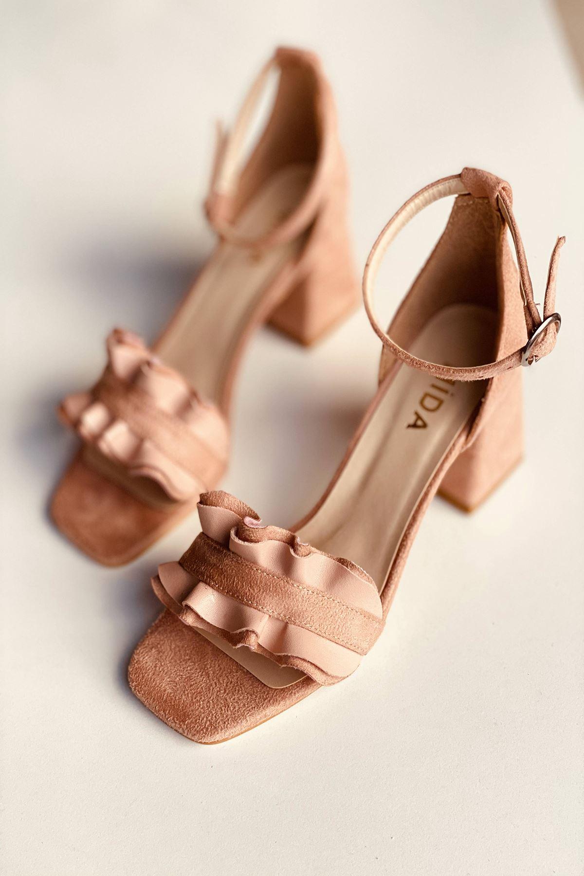 Y700 Pudra Süet Topuklu Ayakkabı