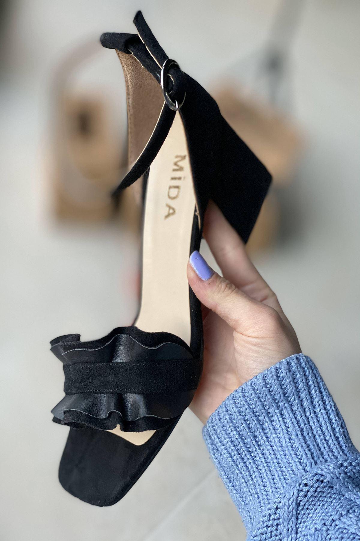Y700 Siyah Süet Topuklu Ayakkabı